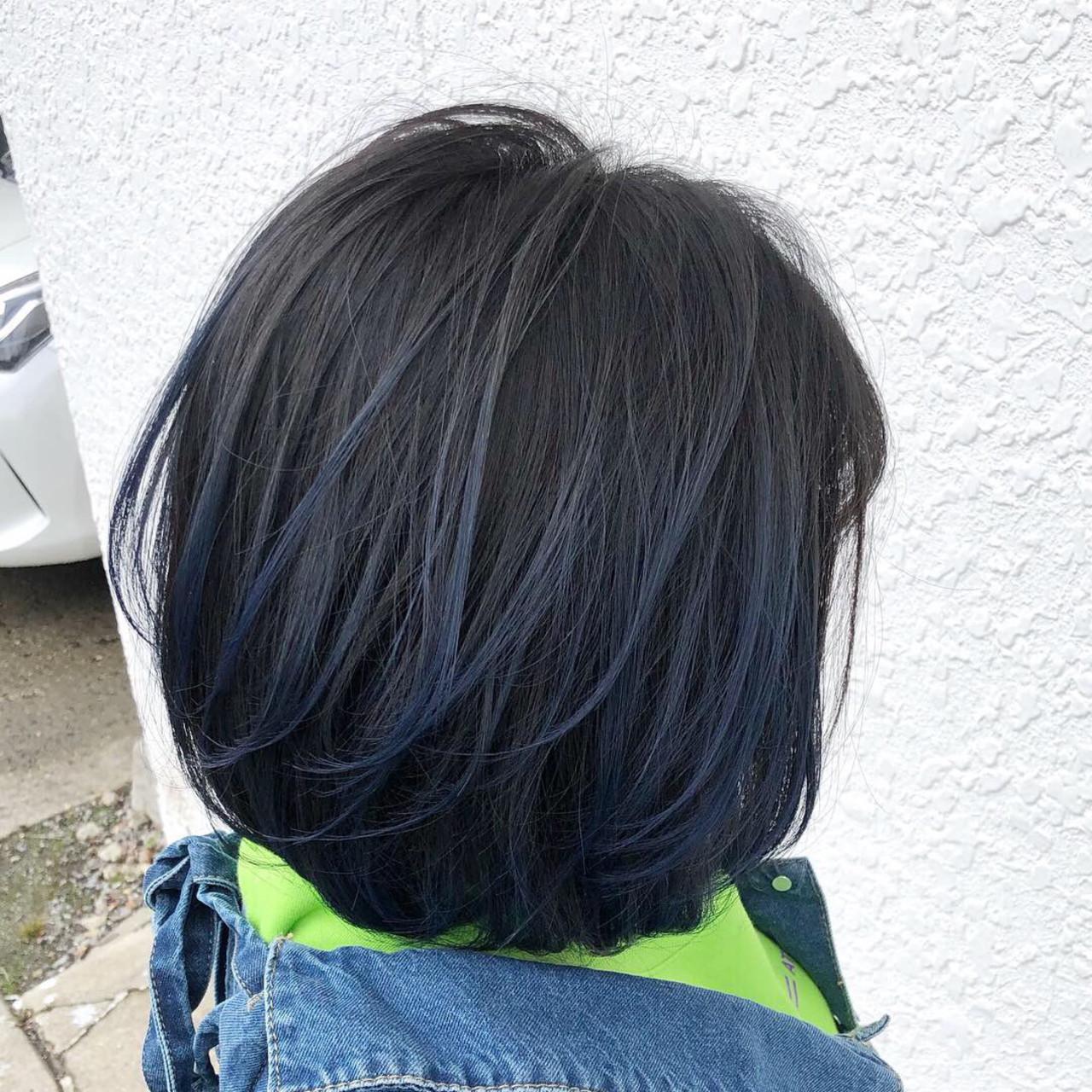 ボブ ブリーチ バレイヤージュ フェミニン ヘアスタイルや髪型の写真・画像