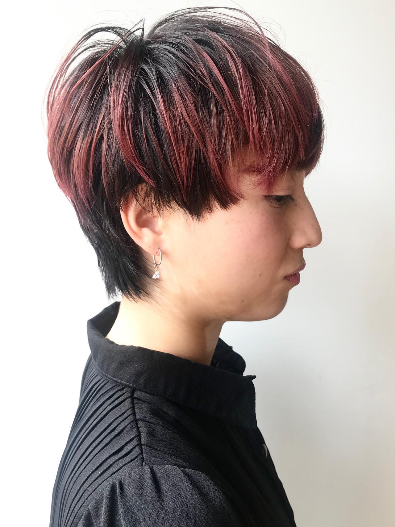 ショート ストリート ピンク ピンクバイオレット ヘアスタイルや髪型の写真・画像