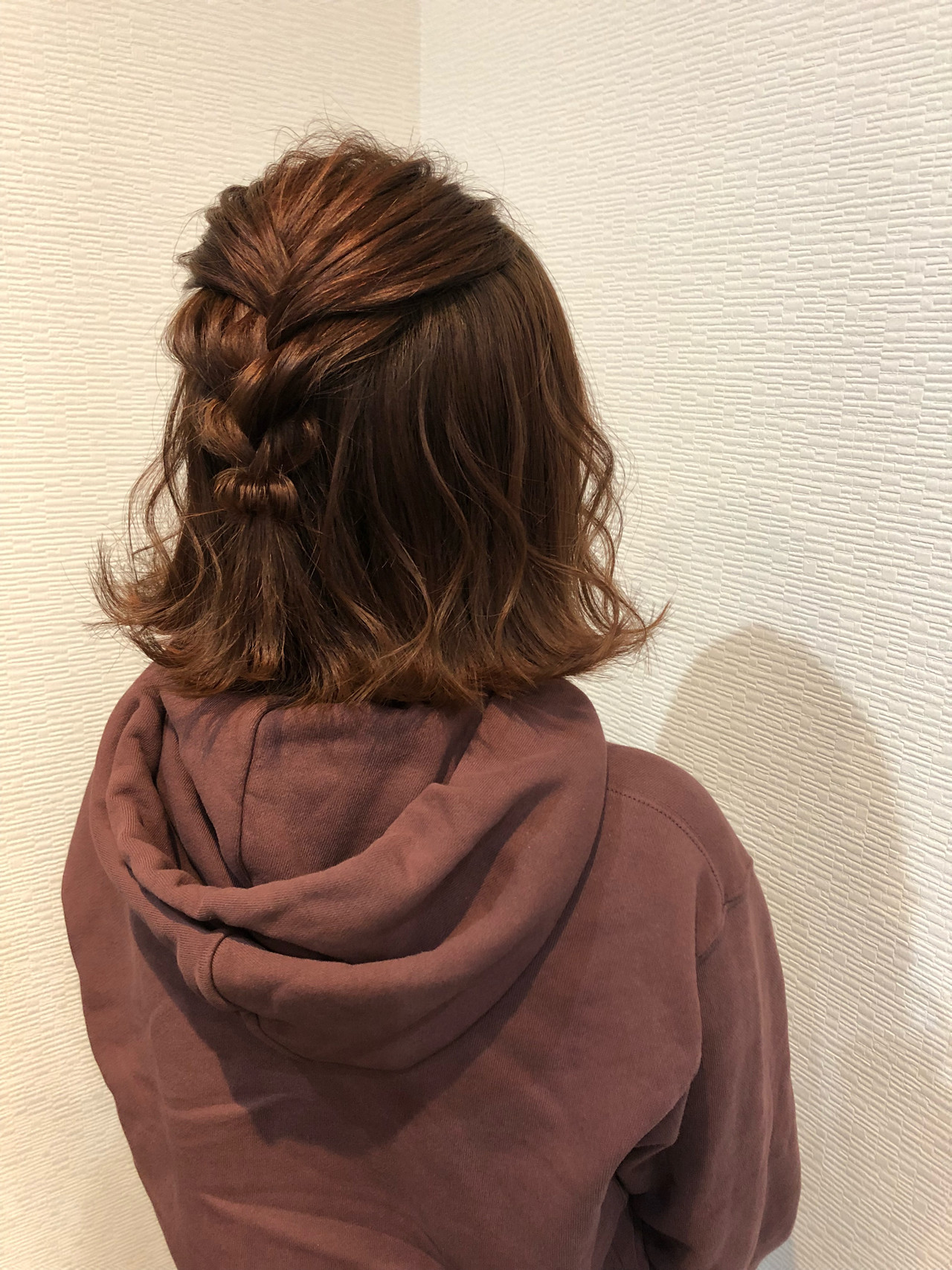 ヘアアレンジ ボブ ハーフアップ 編み込み ヘアスタイルや髪型の写真・画像