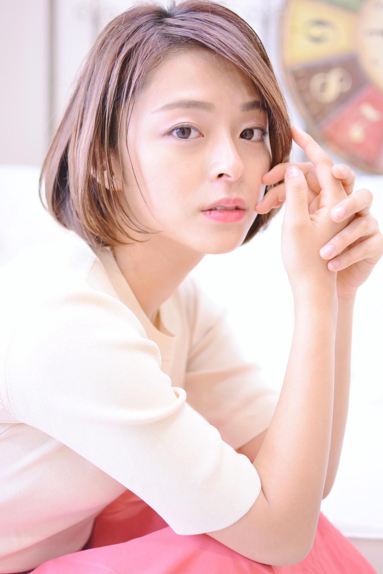 前髪なしワンカールショートボブで大人っぽく Shiko Kajiharaメイズ