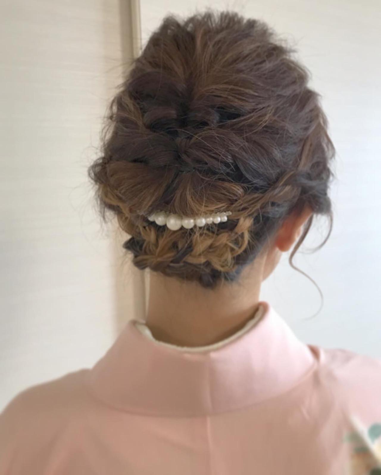 編み込み×ヘアアクセで魅せる訪問着似合わせヘア Nakamura Mari
