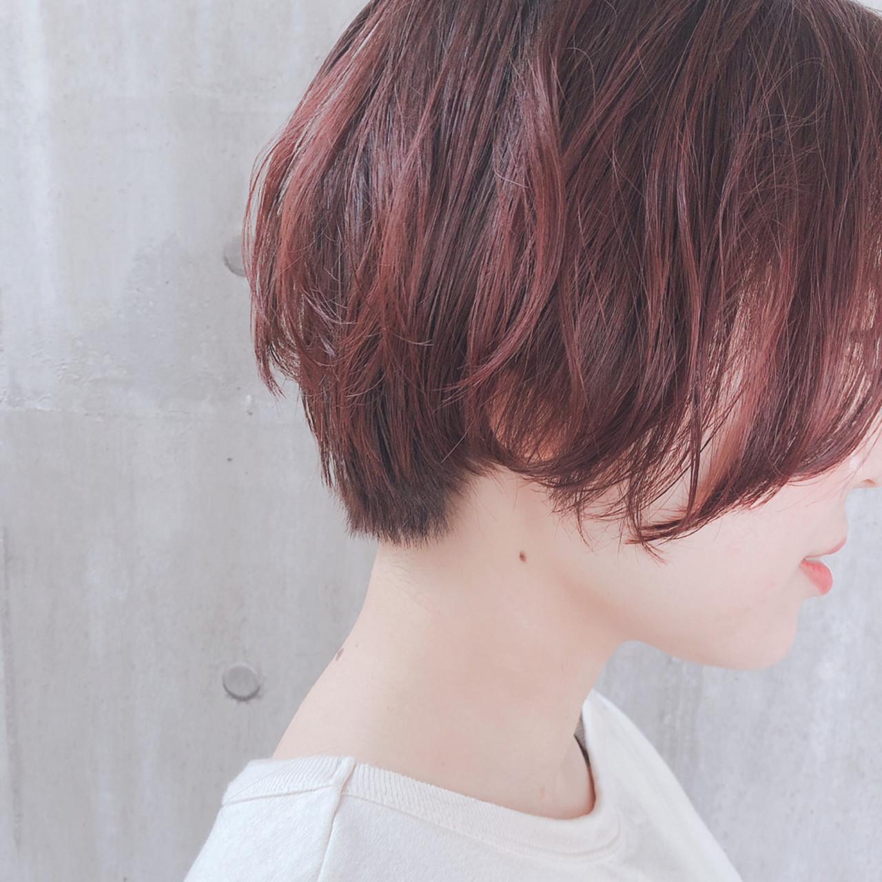ナチュラル ラベンダーピンク ショートヘア ピンクベージュ ヘアスタイルや髪型の写真・画像