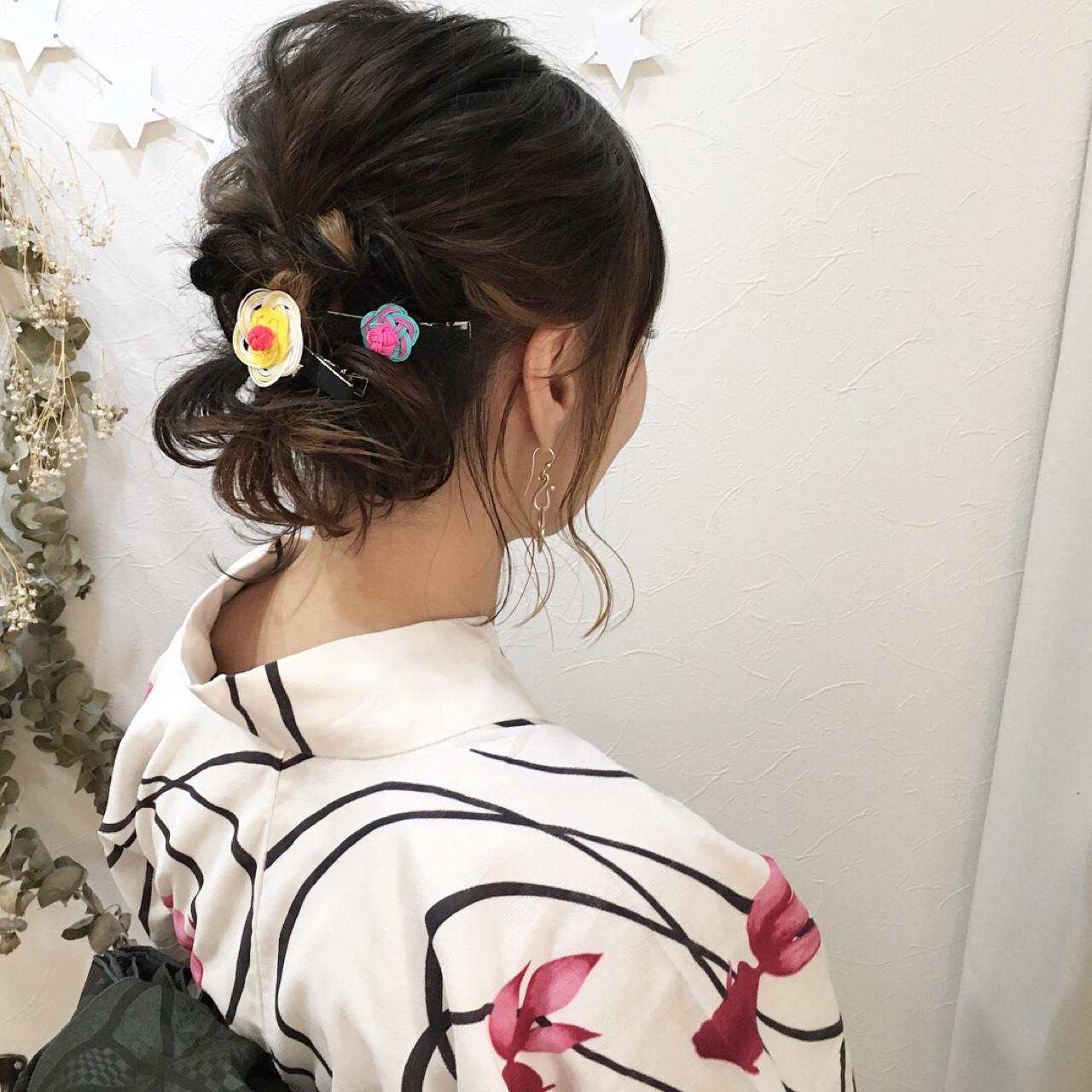 ハイライト ヘアアレンジ ボブ お祭り ヘアスタイルや髪型の写真・画像