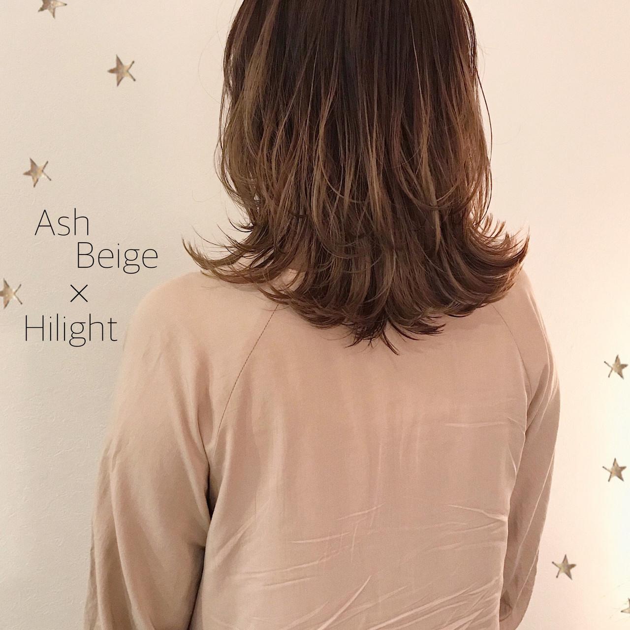 アンニュイほつれヘア ハイライト ミディアムレイヤー ストリート ヘアスタイルや髪型の写真・画像