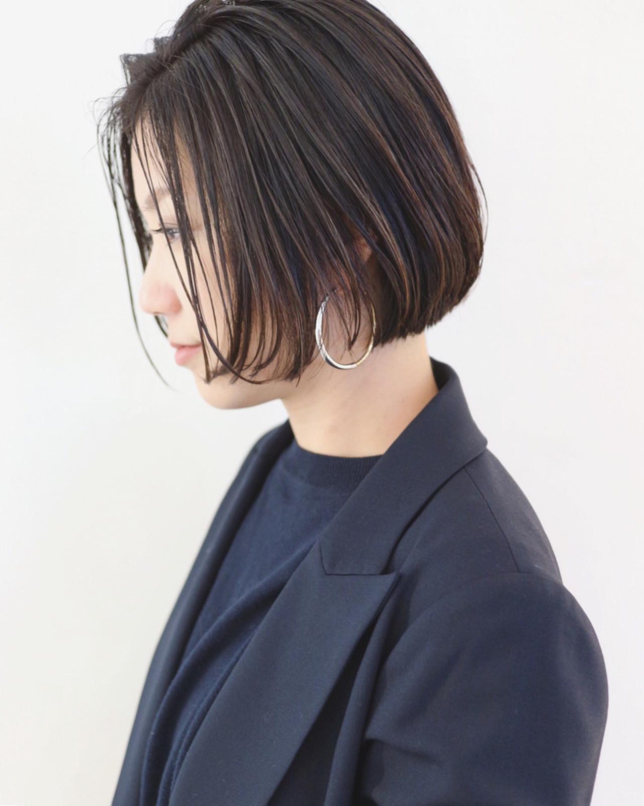 透け感のある暗髪はストレートショートボブで軽やかに 三好 佳奈美Baco.(バコ)