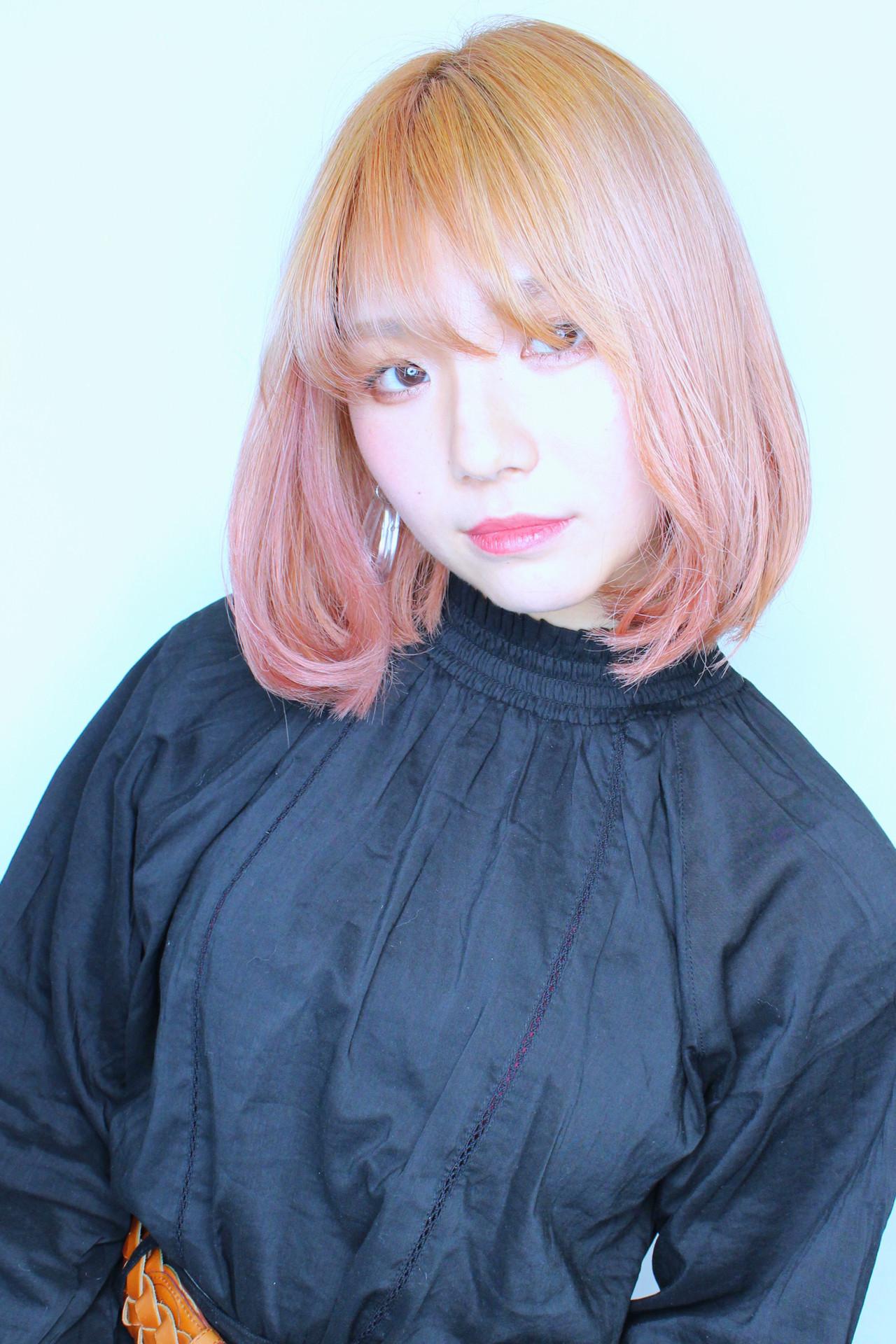 ストリート ボブ 成人式 ピンクベージュ ヘアスタイルや髪型の写真・画像