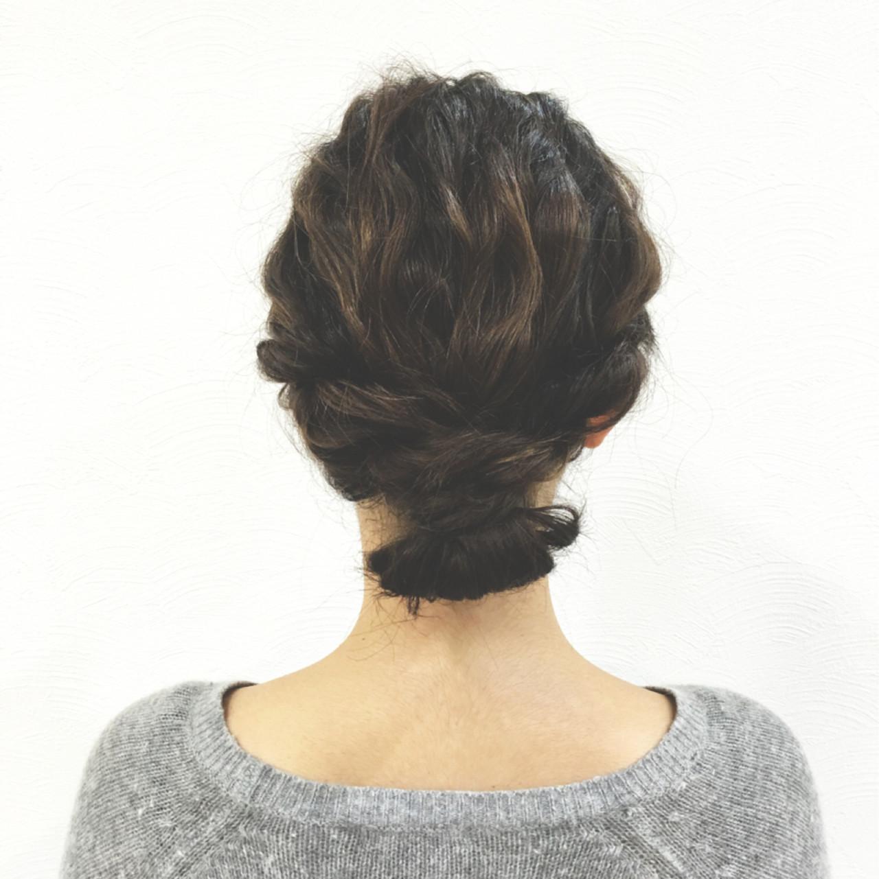 ロープ編み ボブ 簡単ヘアアレンジ ローポニーテール ヘアスタイルや髪型の写真・画像
