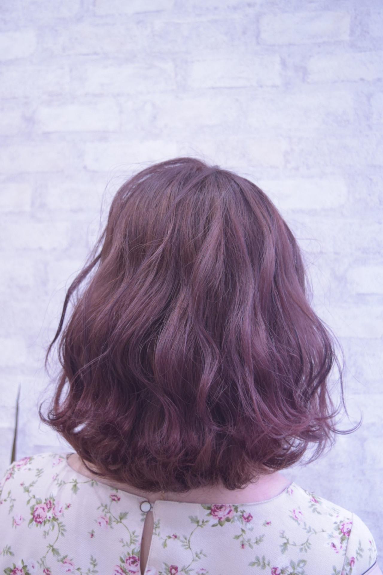 ピンクバイオレット ボブ ピンクパープル ピンク ヘアスタイルや髪型の写真・画像