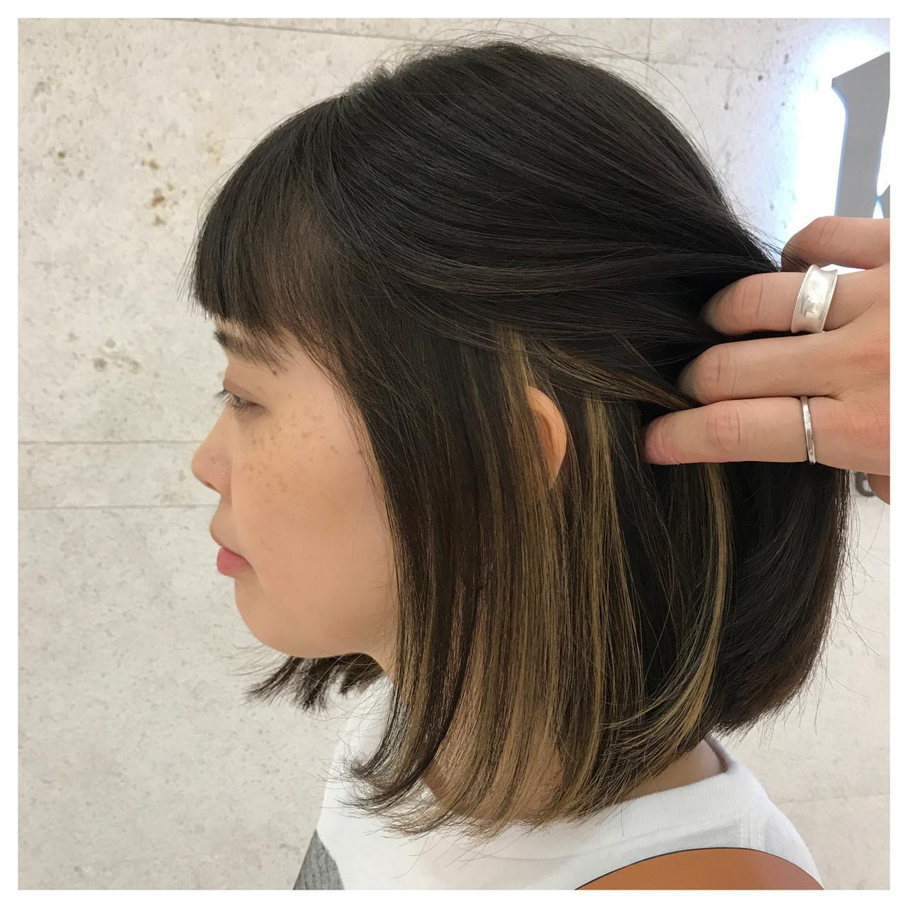 モード ハイライト アンニュイ インナーカラー ヘアスタイルや髪型の写真・画像