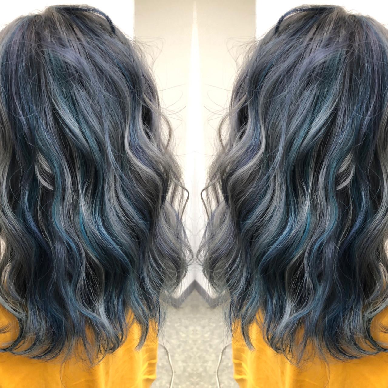 ミディアム ユニコーンカラー グラデーションカラー ハイライト ヘアスタイルや髪型の写真・画像