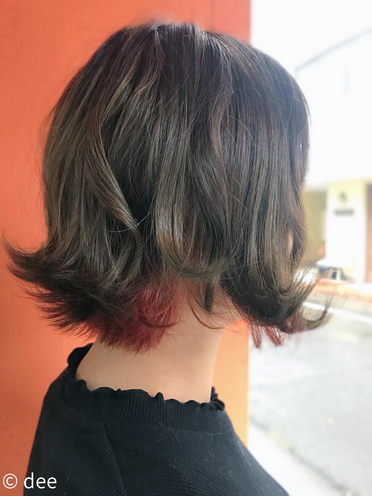 オレンジ インナーカラー カーキ ボブ ヘアスタイルや髪型の写真・画像