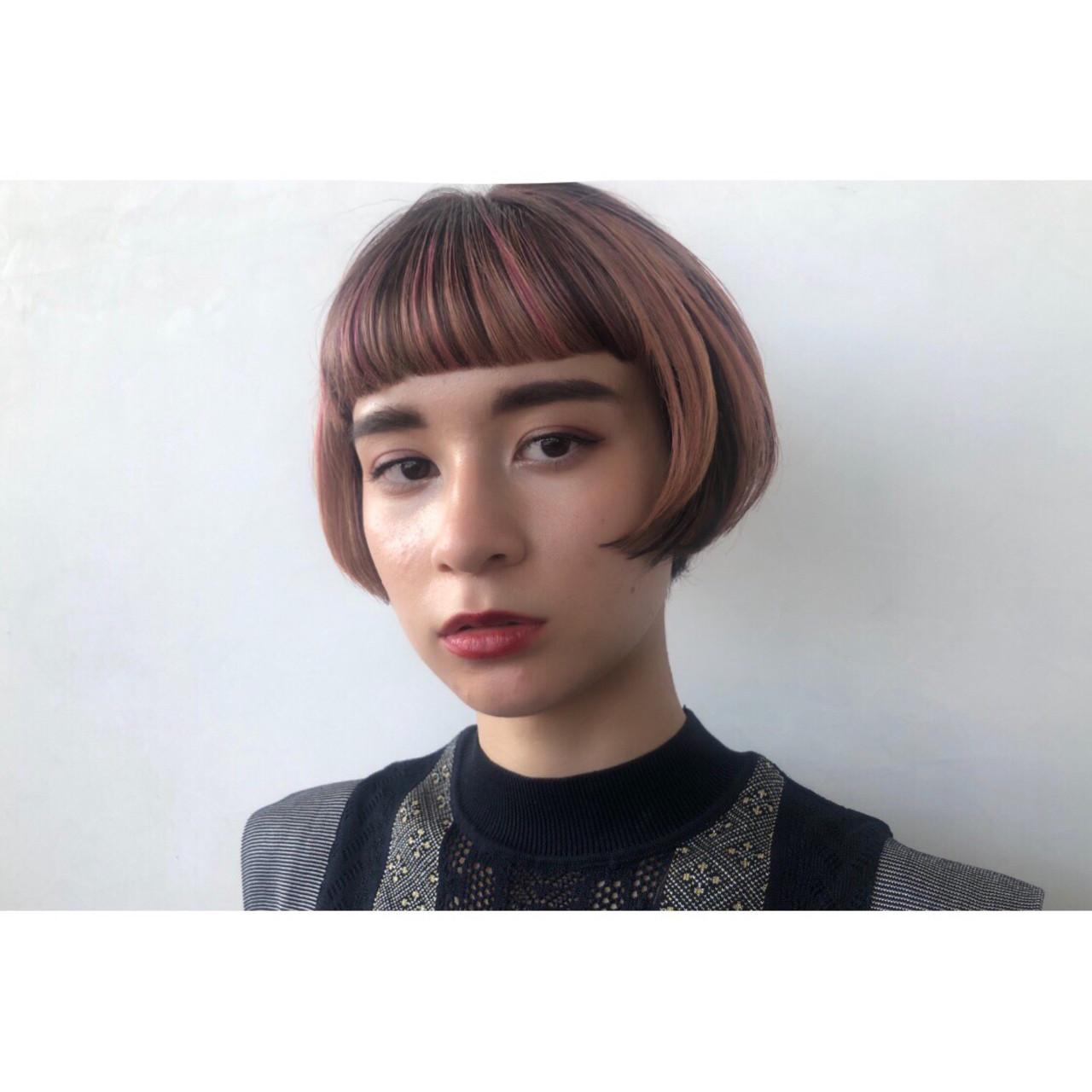 大人可愛い 3Dハイライト ショートボブ モード ヘアスタイルや髪型の写真・画像
