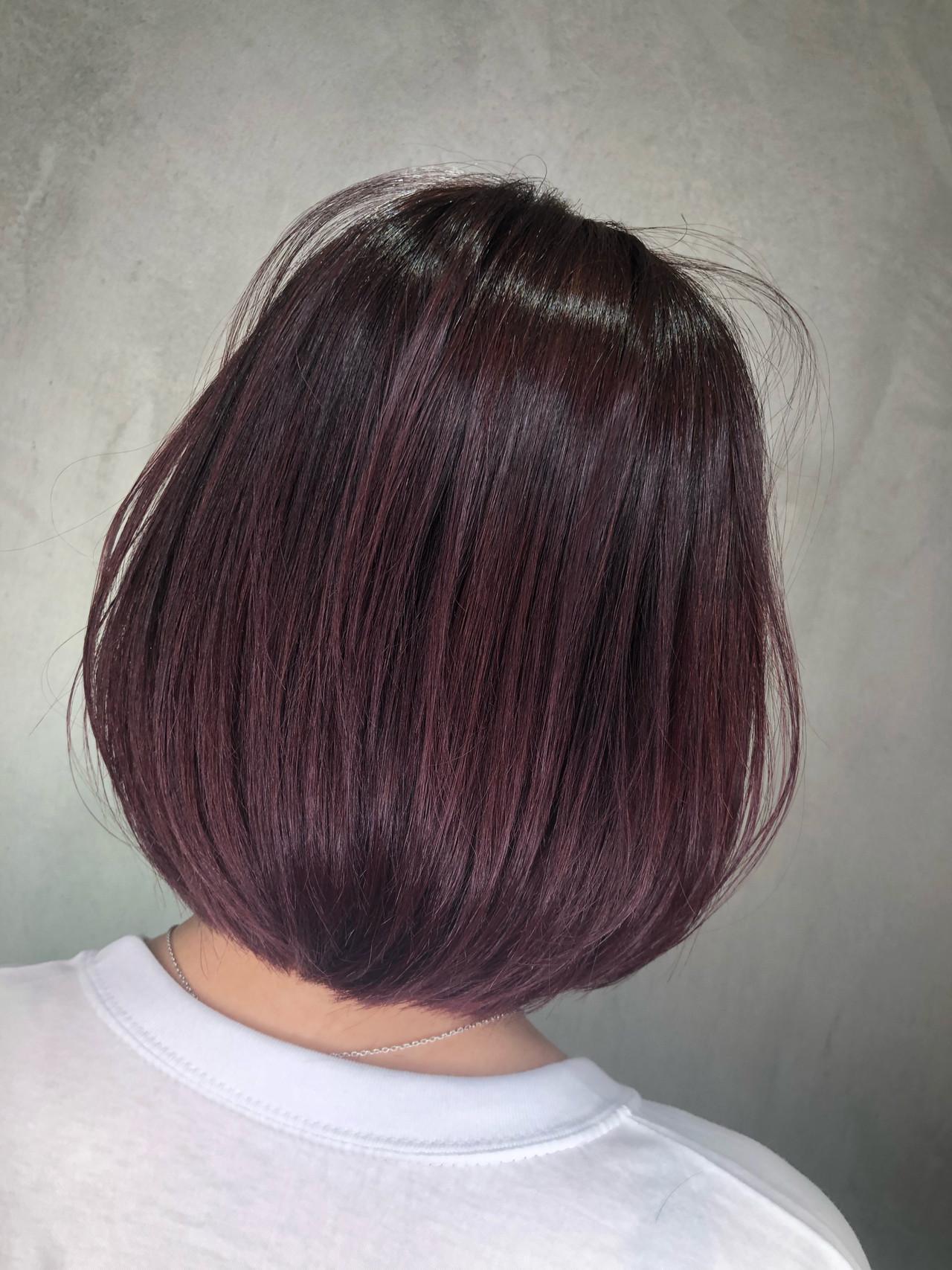 赤髪 デート グラデーションカラー ボブ ヘアスタイルや髪型の写真・画像