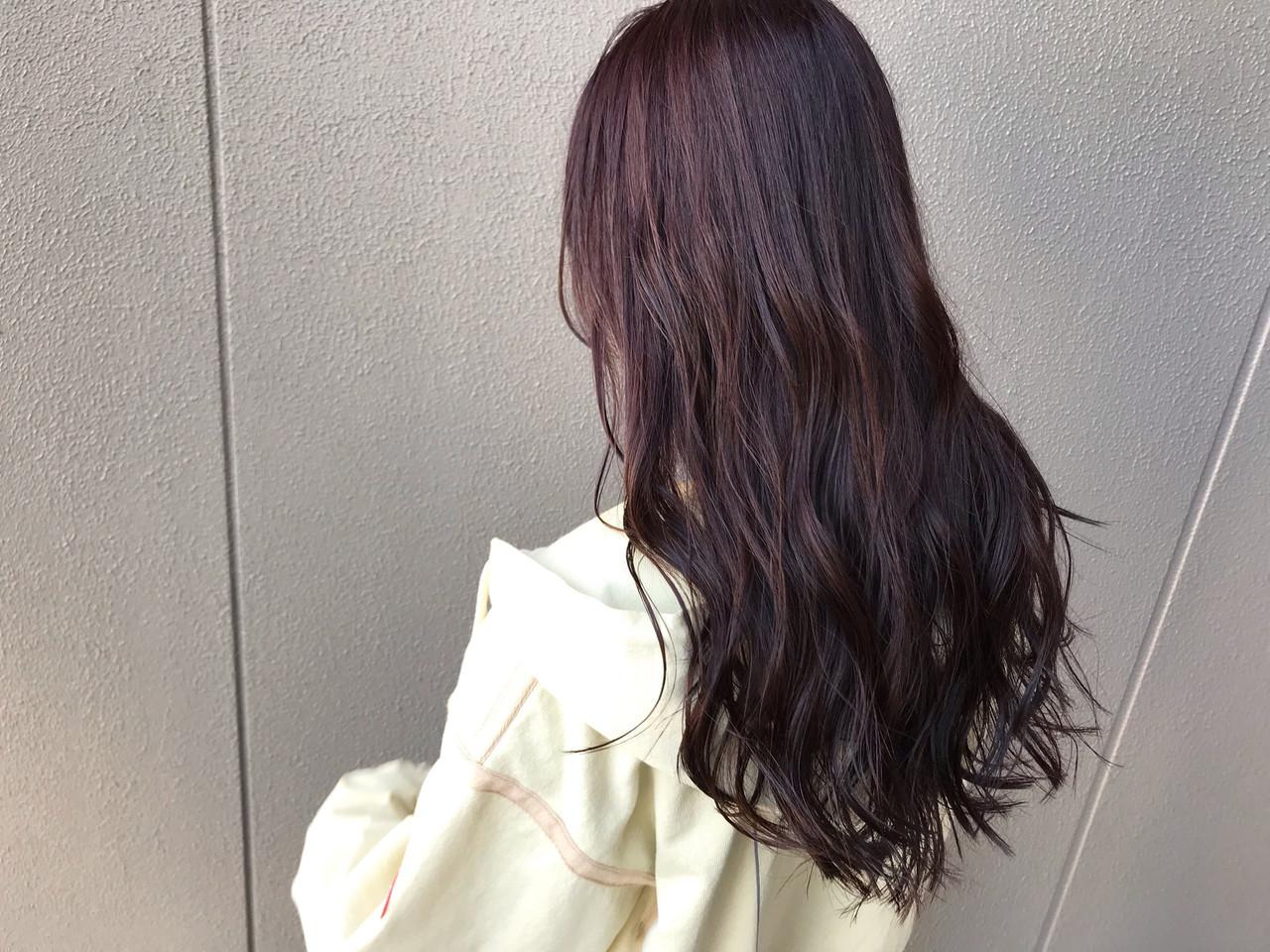 ラベンダーピンク バイオレットカラー ピンクバイオレット ナチュラル ヘアスタイルや髪型の写真・画像