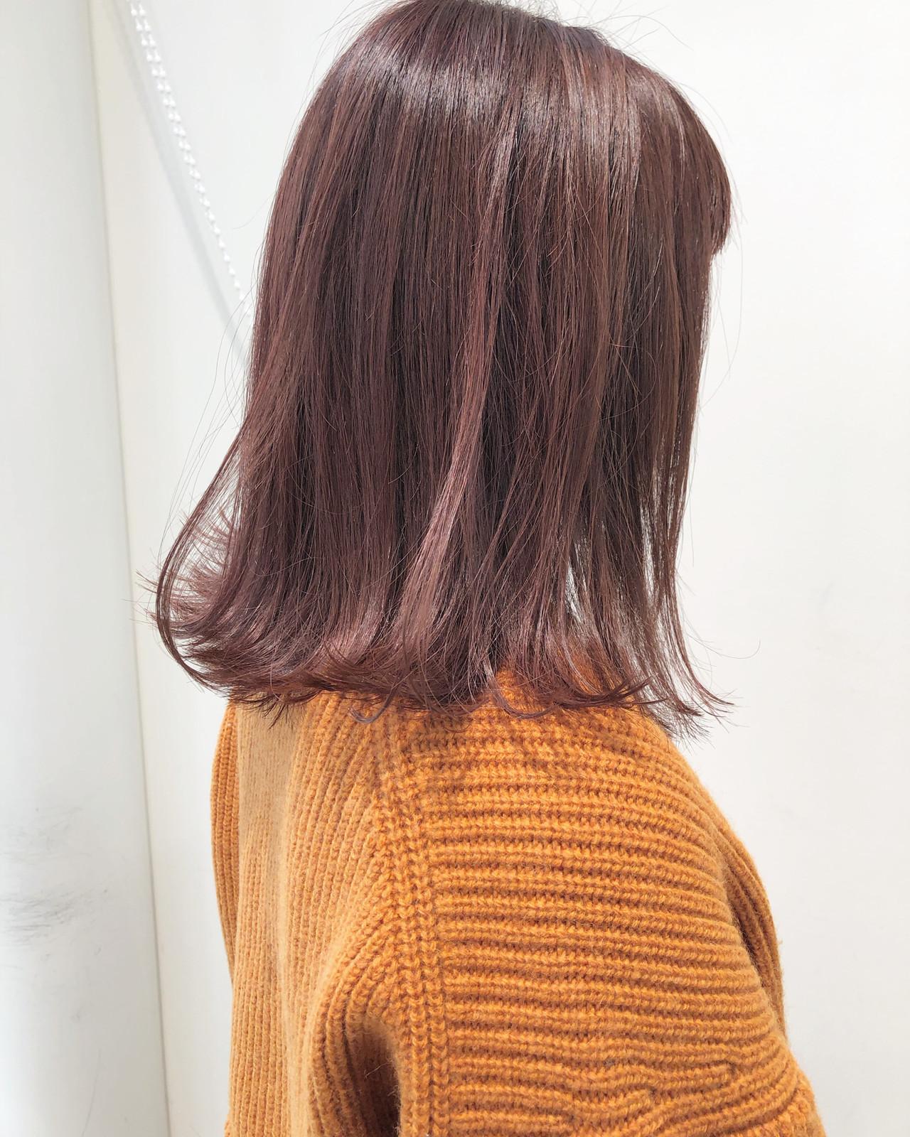 ロブ アンニュイほつれヘア 切りっぱなしボブ ピンク ヘアスタイルや髪型の写真・画像