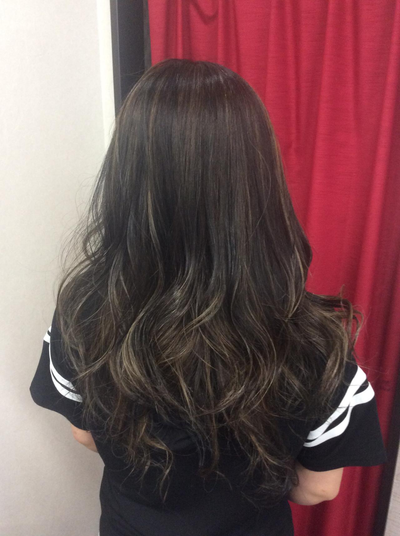 外国人風カラー セミロング ダブルカラー グラデーションカラー ヘアスタイルや髪型の写真・画像