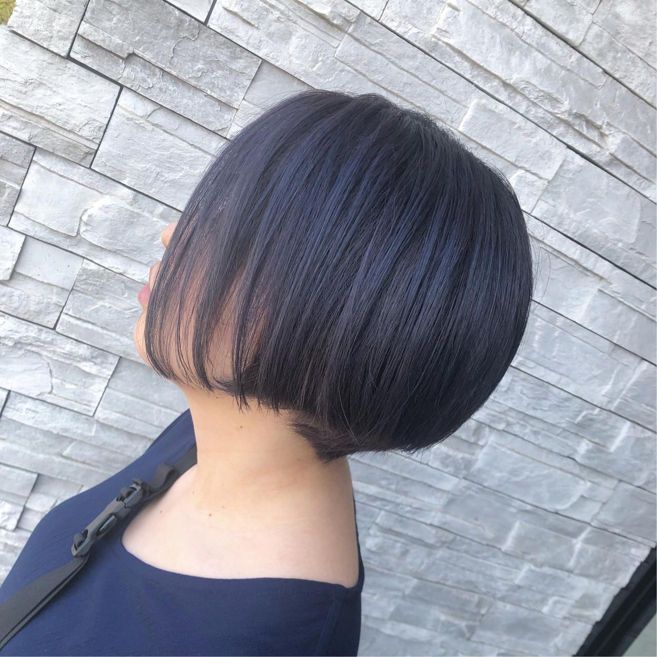 透明感カラー ブルーバイオレット ショート モード ヘアスタイルや髪型の写真・画像