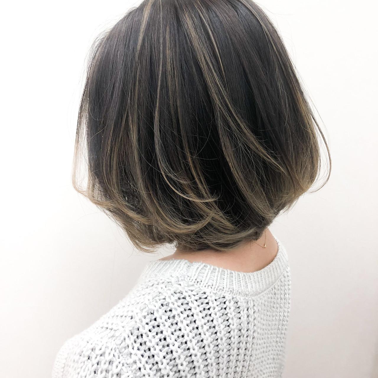 グラデーションカラー 大人ハイライト ボブ バレイヤージュ ヘアスタイルや髪型の写真・画像
