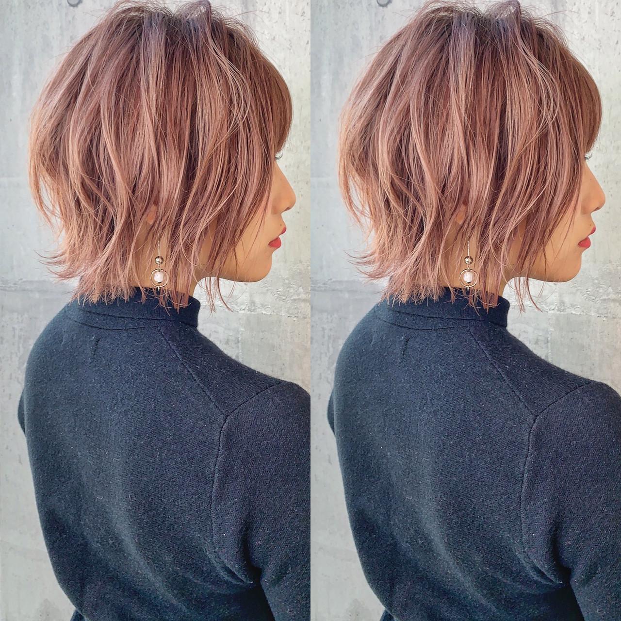 ヘアカラー ピンクアッシュ 切りっぱなしボブ ボブ ヘアスタイルや髪型の写真・画像