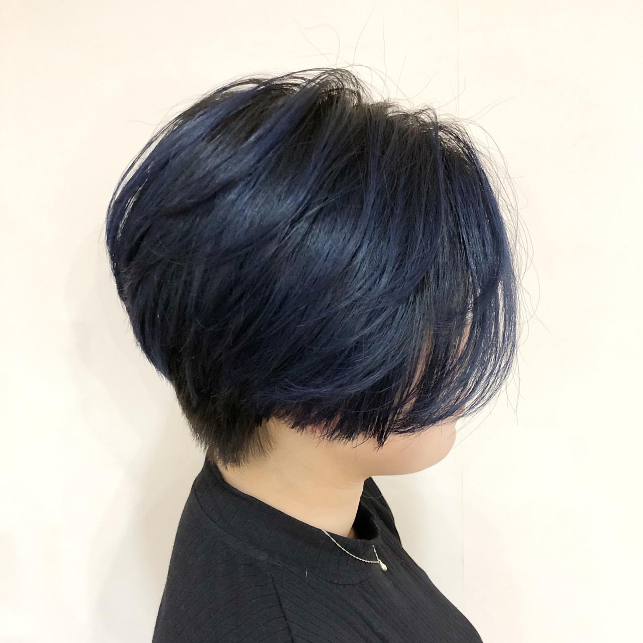 バレイヤージュ ブルー グラデーションカラー モード ヘアスタイルや髪型の写真・画像