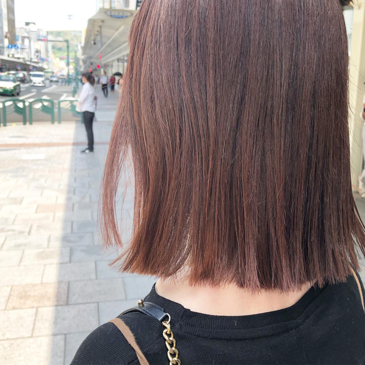 ピンクブラウン セミロング ナチュラル ピンク ヘアスタイルや髪型の写真・画像