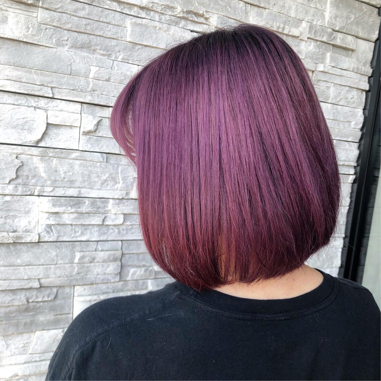 ボブ ピンクバイオレット ダブルカラー ピンクパープル ヘアスタイルや髪型の写真・画像