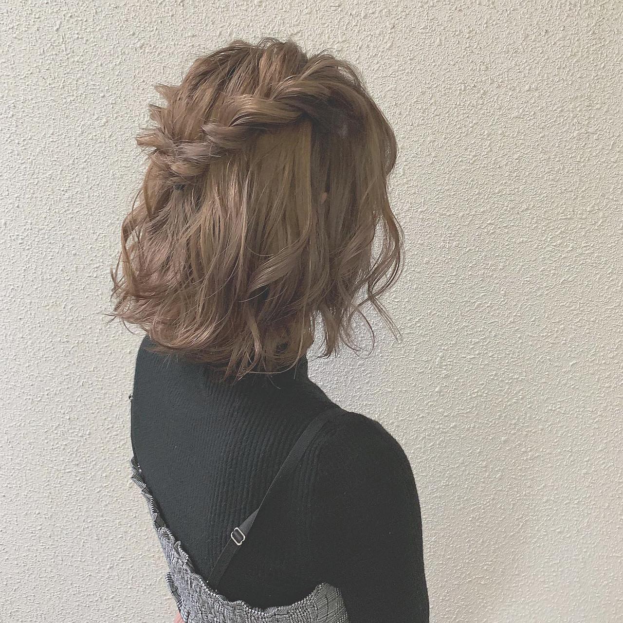 ミルクティーグレージュ ミルクティー ナチュラル 簡単ヘアアレンジ ヘアスタイルや髪型の写真・画像