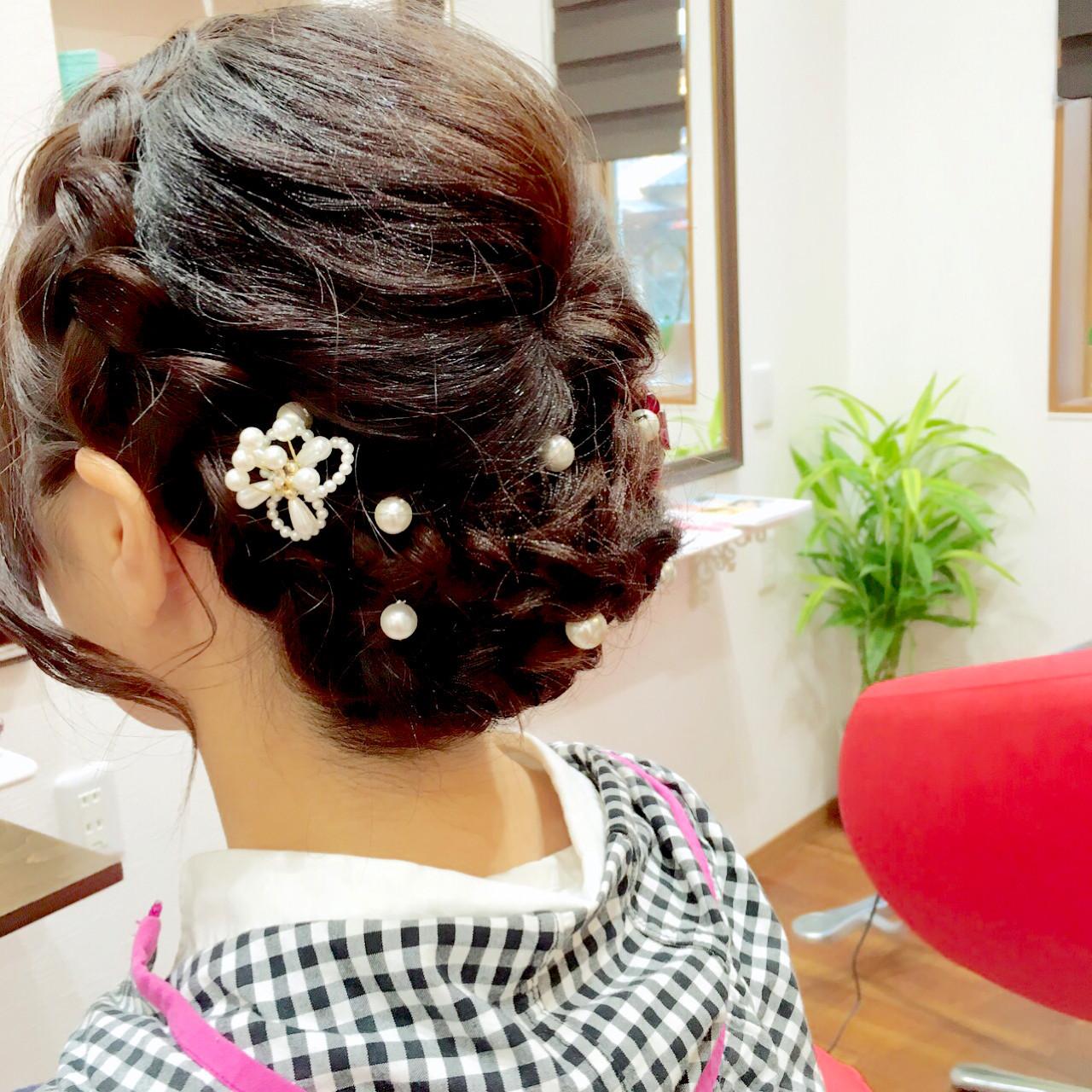 簡単ヘアアレンジ 編み込み 着物 セミロング ヘアスタイルや髪型の写真・画像