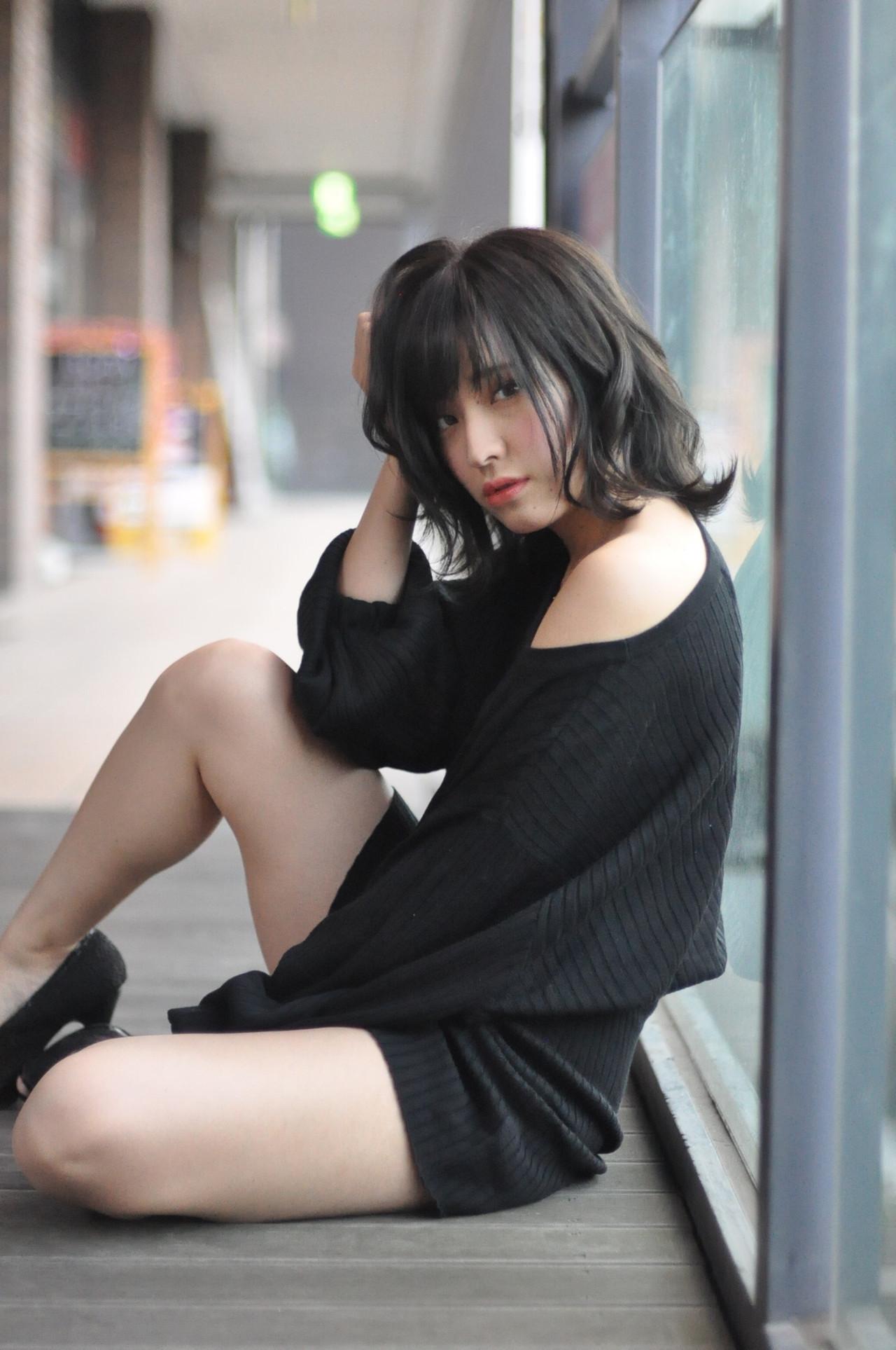 黒髪 パーマ ナチュラル ミディアム ヘアスタイルや髪型の写真・画像