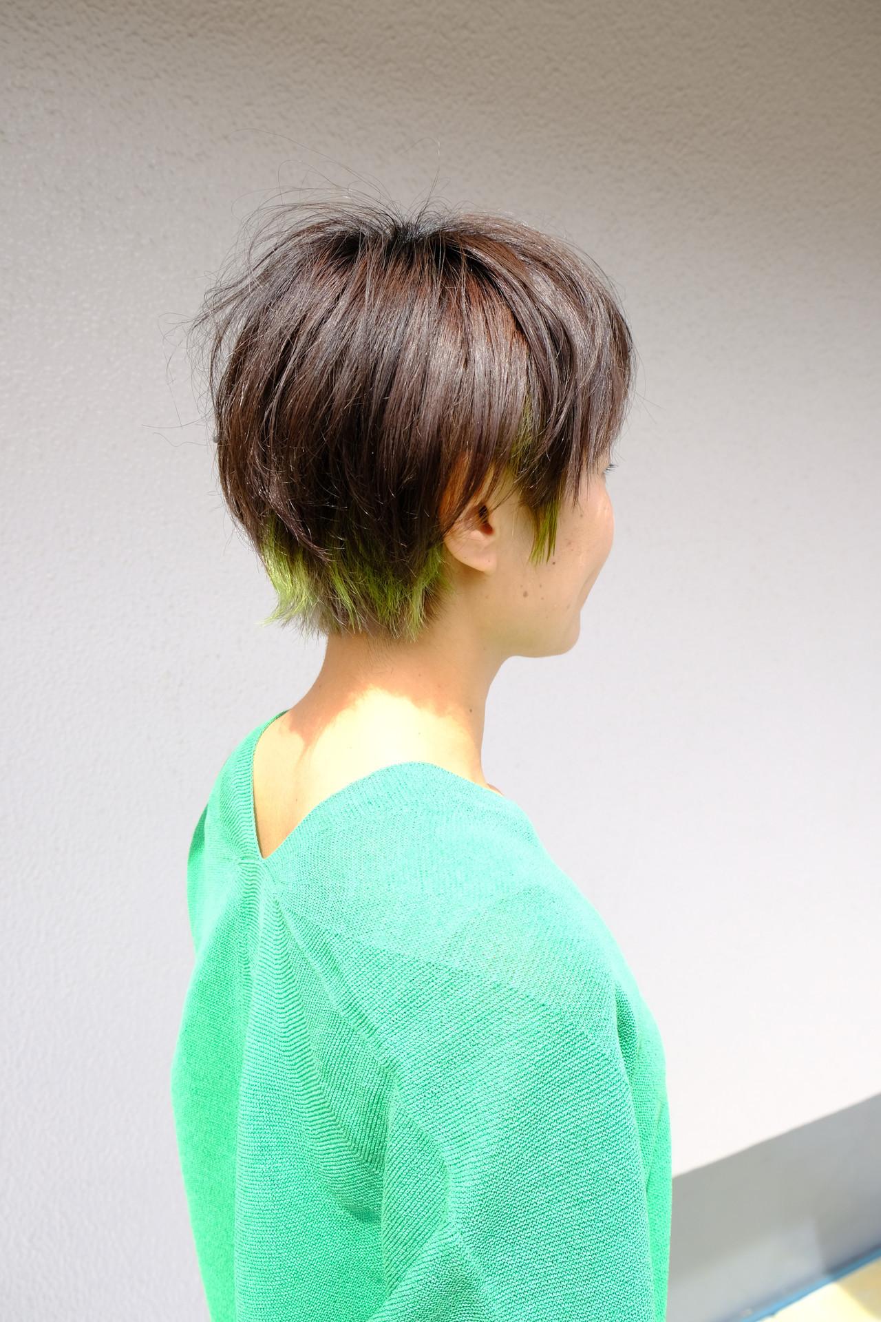 毛先にちょっぴり♡ベリーショートカラーでおしゃれ♪ Tatsuo Araki