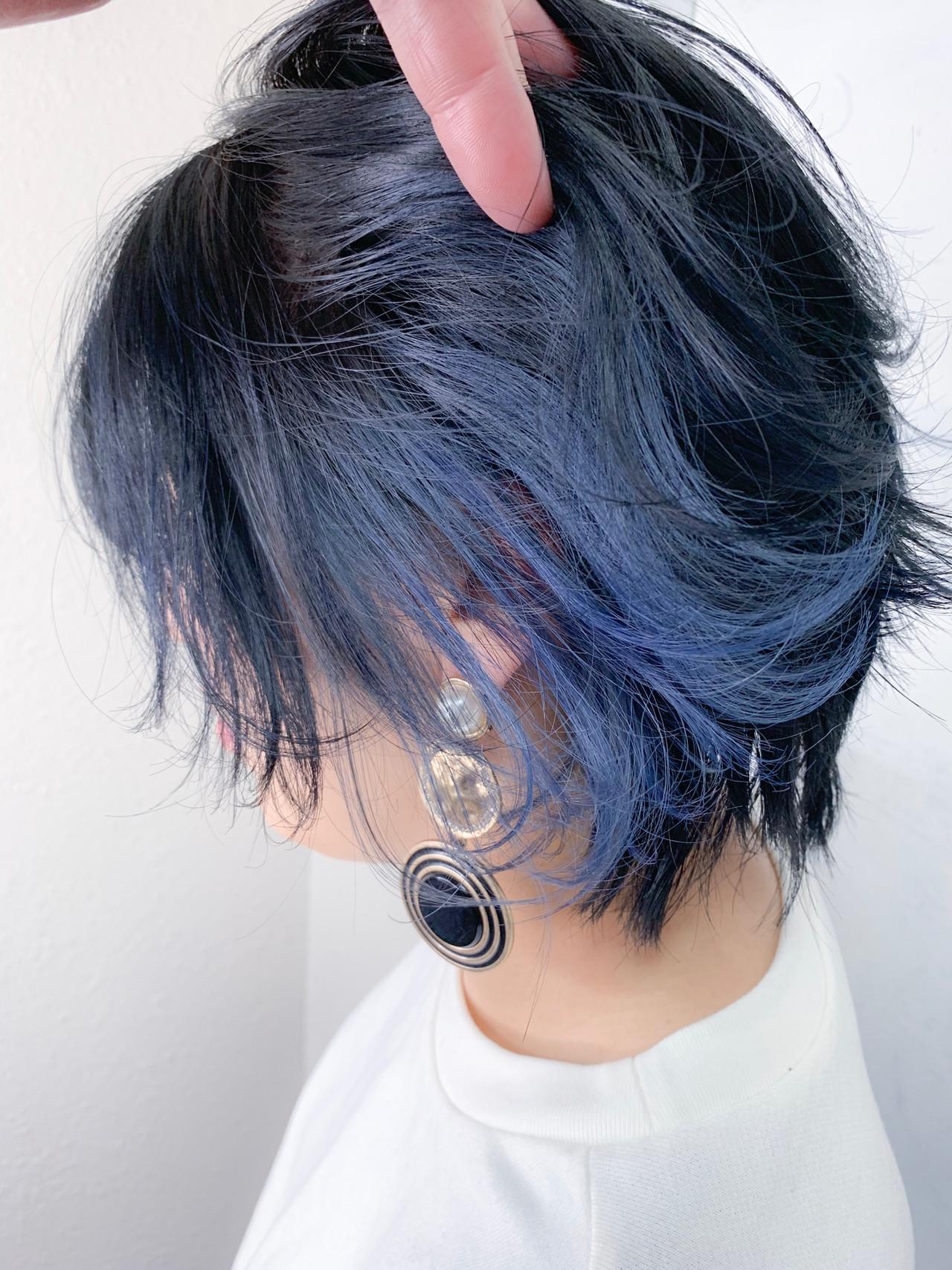すっきり見せの青をプラスしたインナーカラーヘア 宇都宮 弘樹 Natu.南堀江カラーリスト