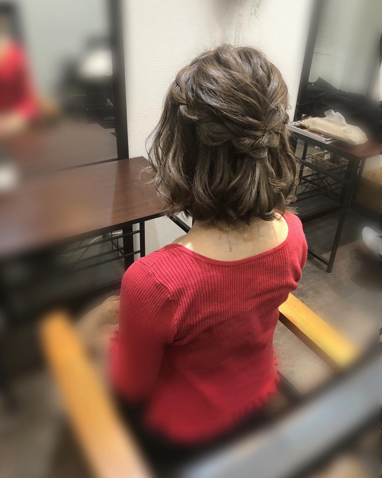 フェミニン ヘアアレンジ ヘアセット ハーフアップ ヘアスタイルや髪型の写真・画像