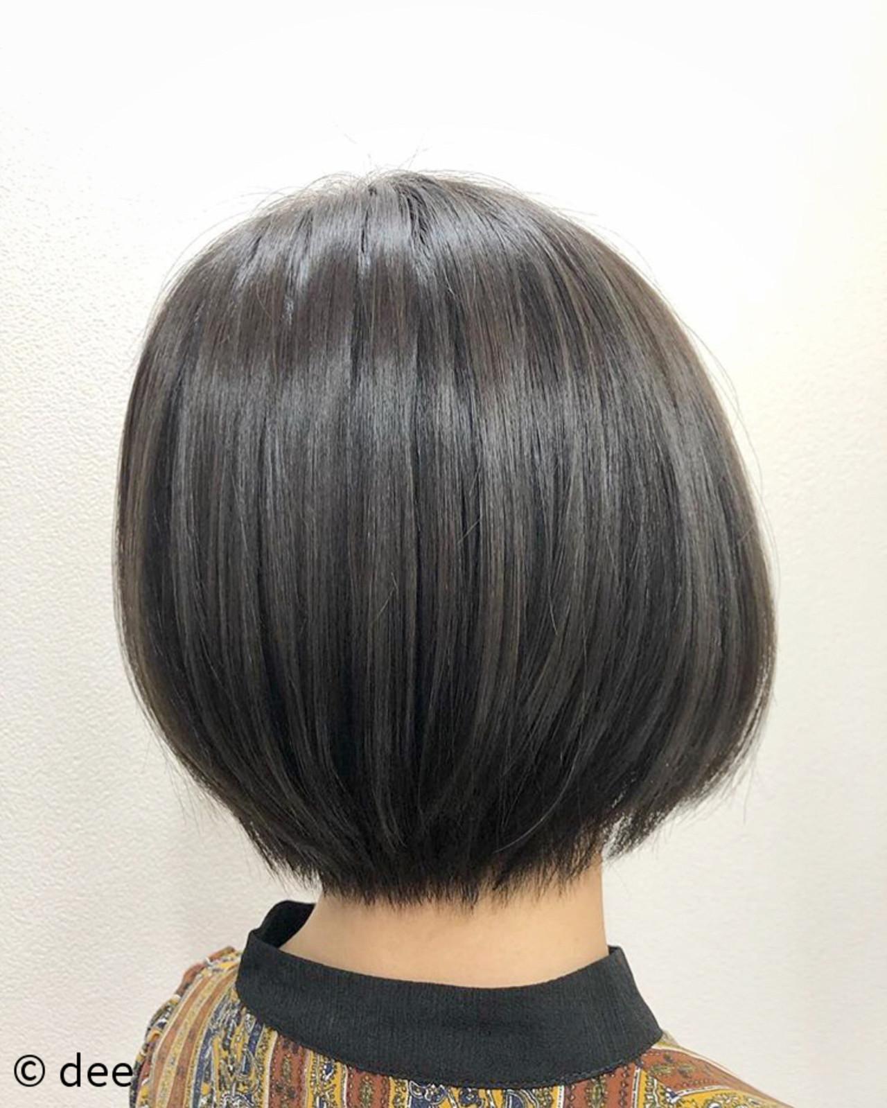 ショートボブ ボブ グレージュ マッシュショート ヘアスタイルや髪型の写真・画像