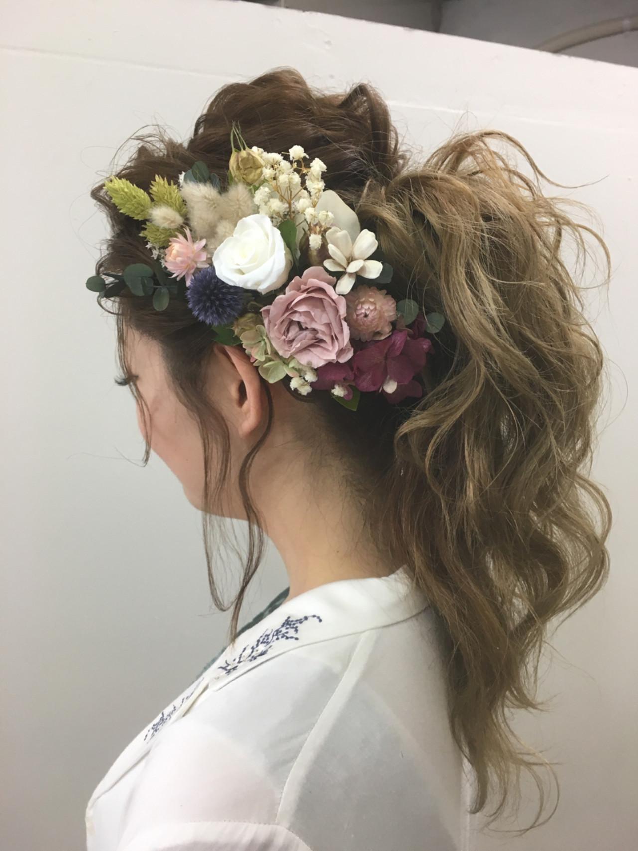 花嫁 結婚式 ポニーテール エレガント ヘアスタイルや髪型の写真・画像
