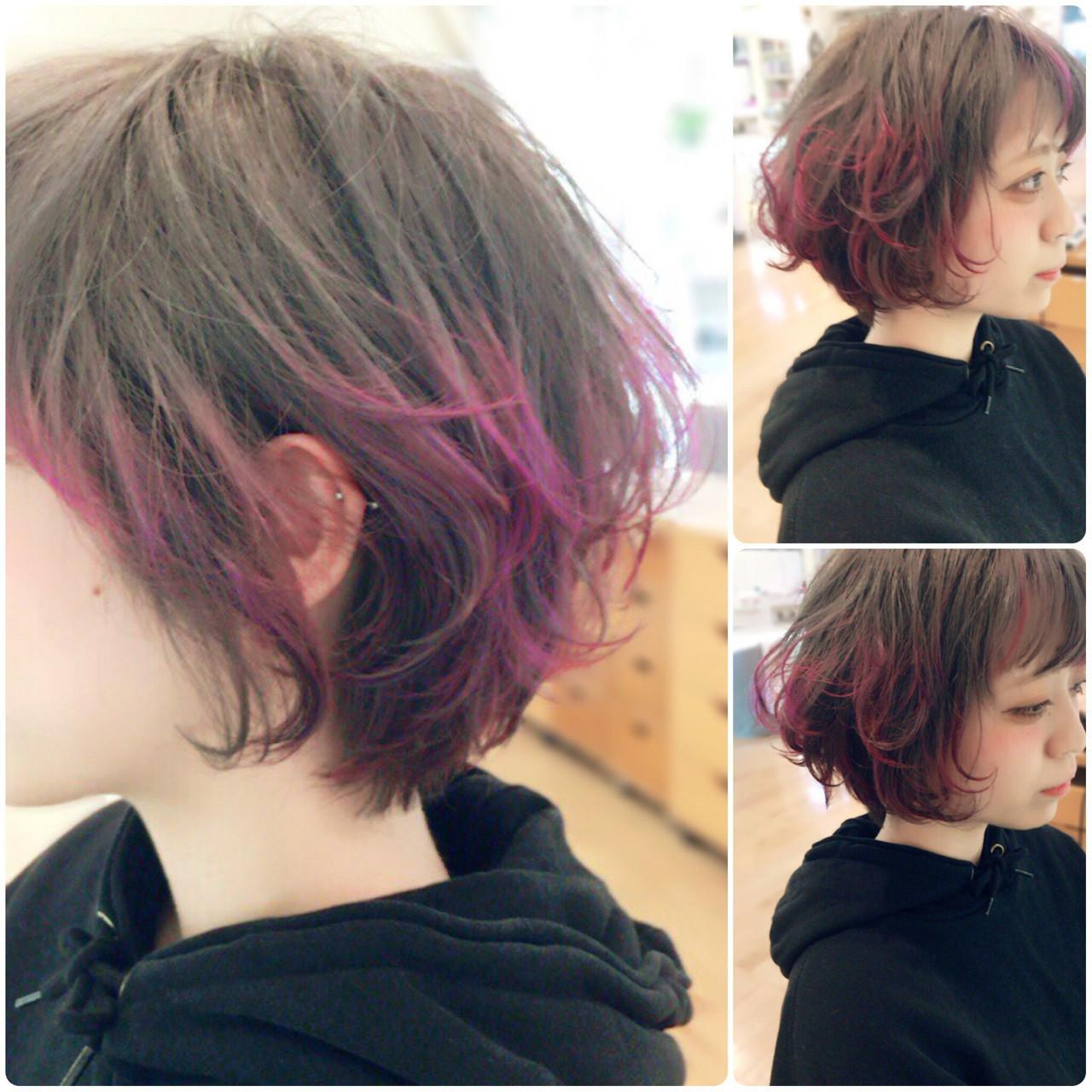グラデーションカラー ダブルカラー ショートボブ ショート ヘアスタイルや髪型の写真・画像
