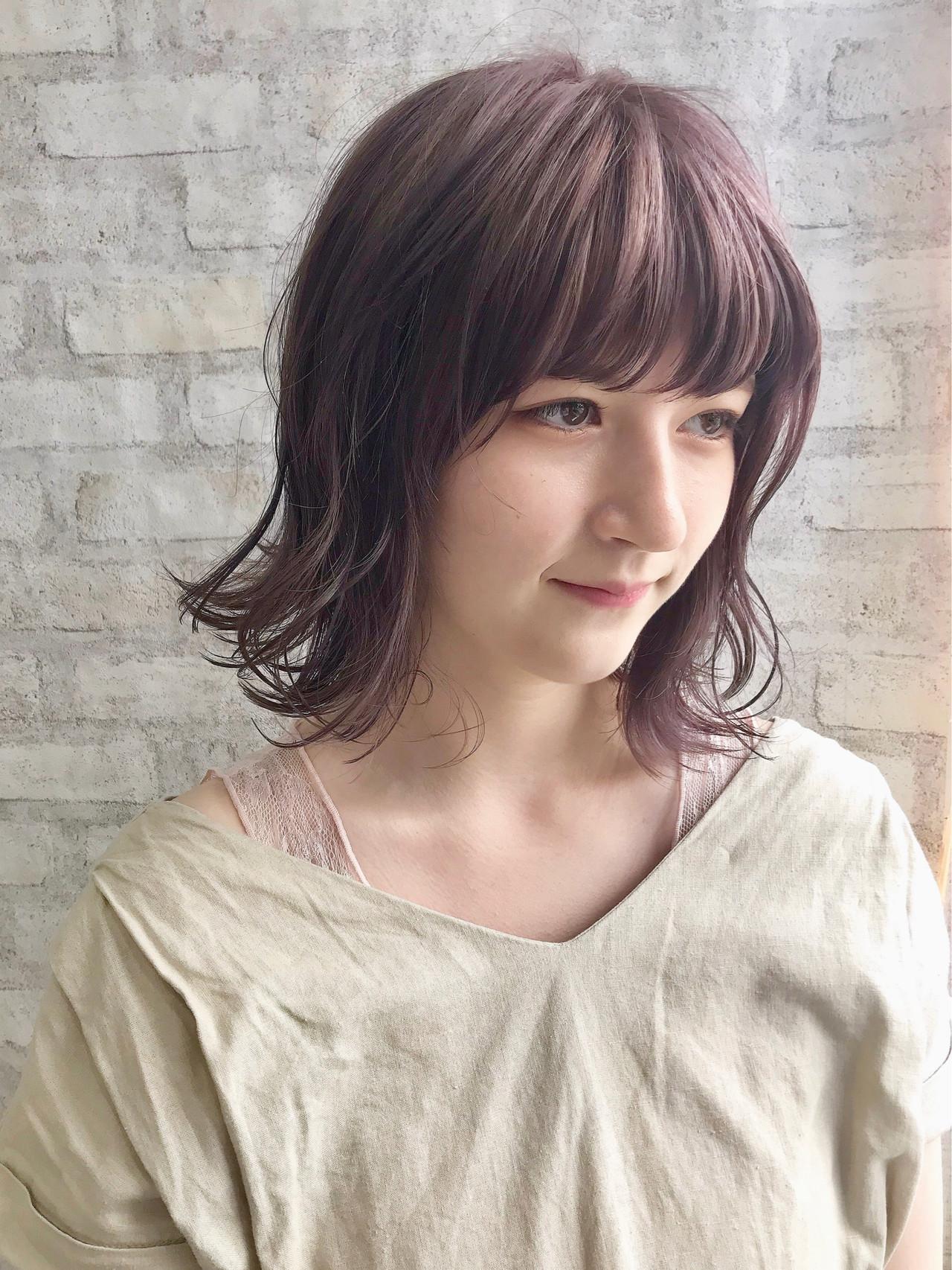 ナチュラル ラベンダーアッシュ ラベンダーピンク ラベンダーグレージュ ヘアスタイルや髪型の写真・画像