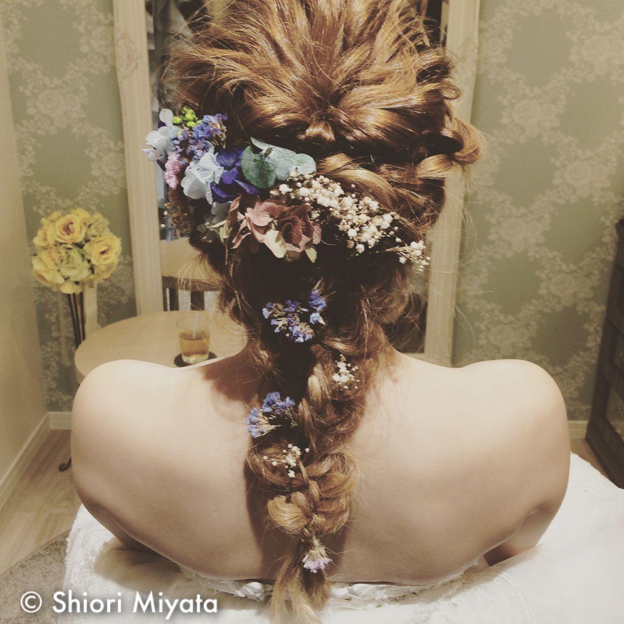ロング ゆるふわ ヘアアレンジ 花嫁 ヘアスタイルや髪型の写真・画像
