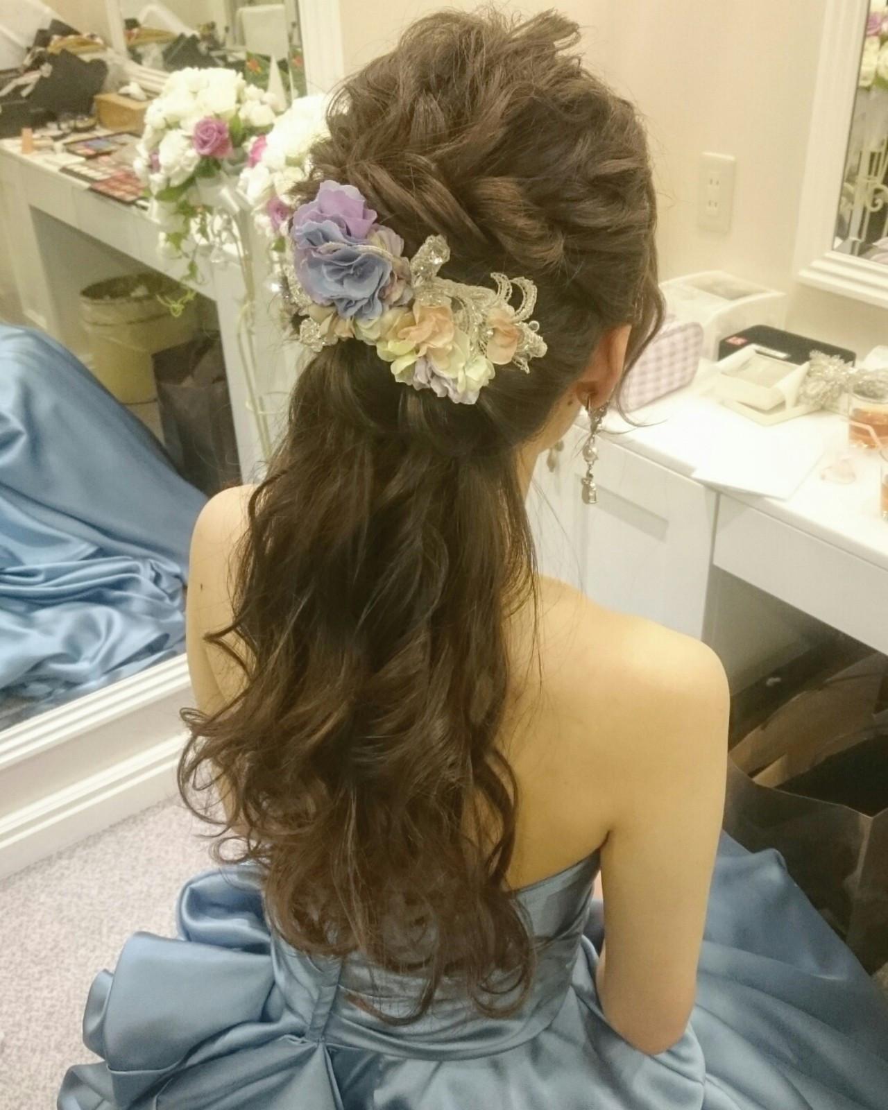 ヘアアレンジ フェミニン ブライダル ロング ヘアスタイルや髪型の写真・画像