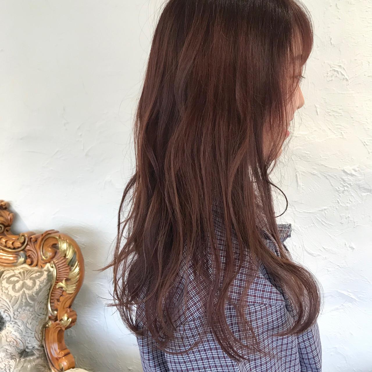 ピンクアッシュ ラズベリーピンク ロング ピンクベージュ ヘアスタイルや髪型の写真・画像
