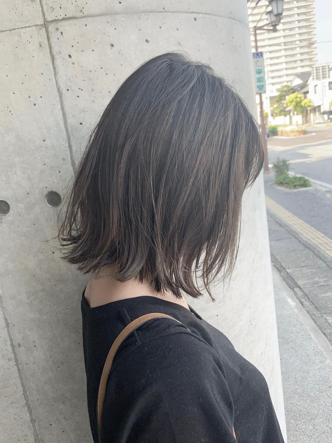 透明感 グレージュ ブラウンベージュ ボブ ヘアスタイルや髪型の写真・画像