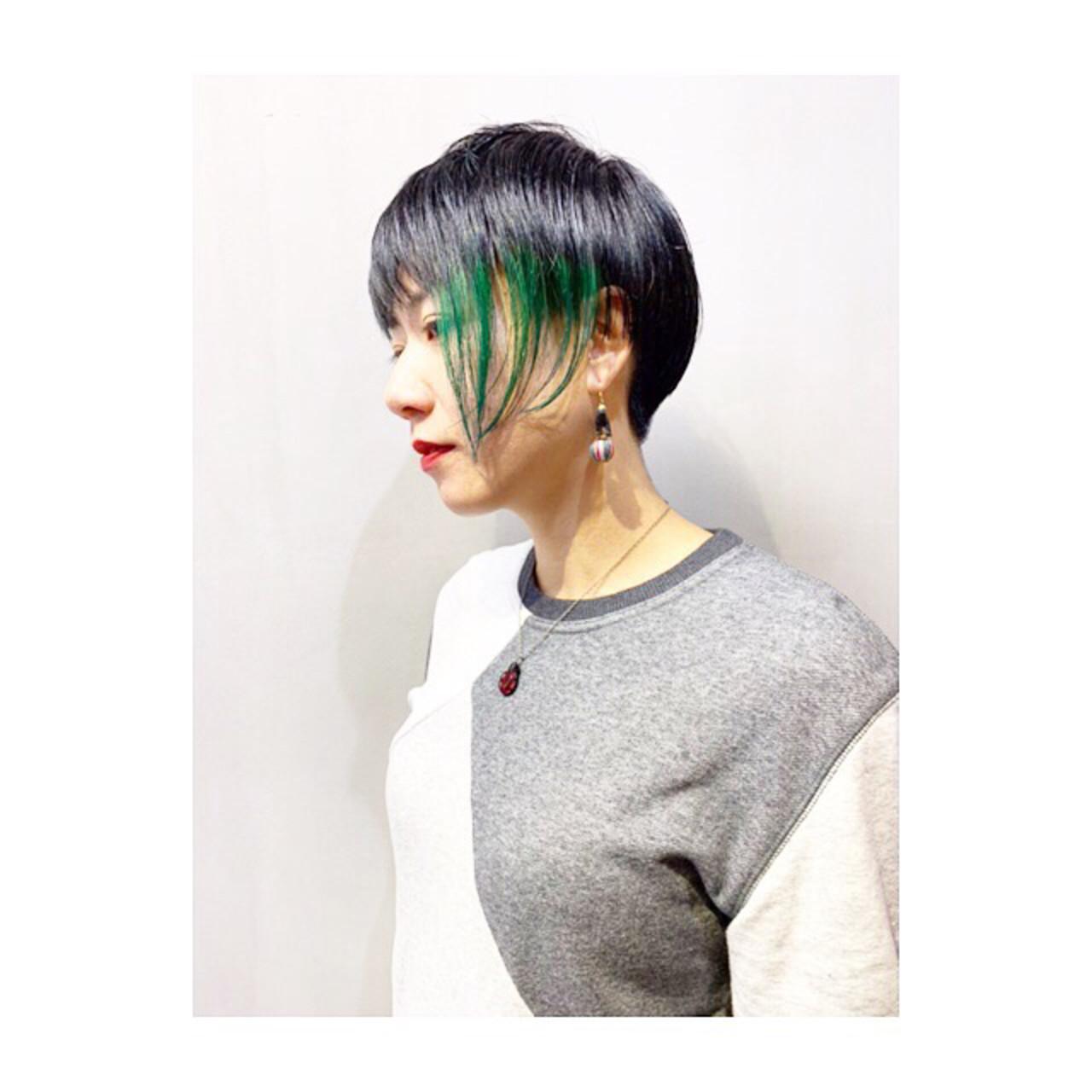 スポーツ パープル ショート ストリート ヘアスタイルや髪型の写真・画像