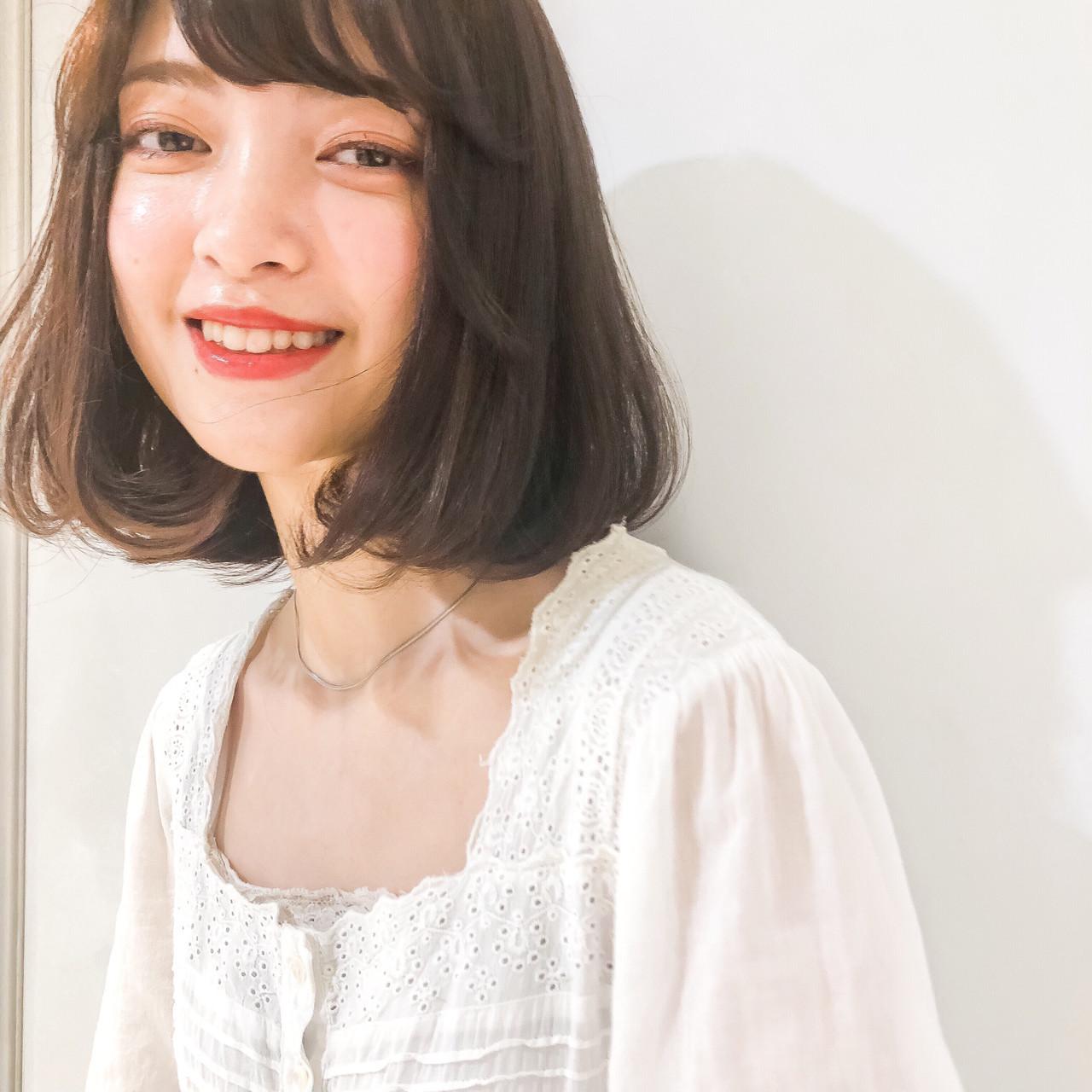 ボブ シースルーバング ロブ 韓国ヘア ヘアスタイルや髪型の写真・画像