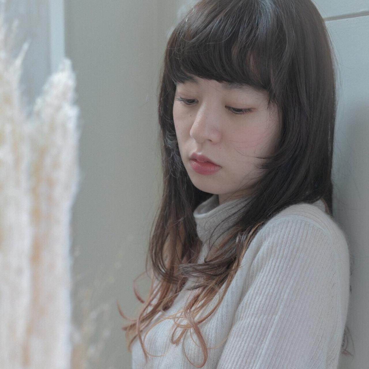 ストレート女子にピッタリ♡厚め前髪ニュアンスウルフ Emiko Nakanishi