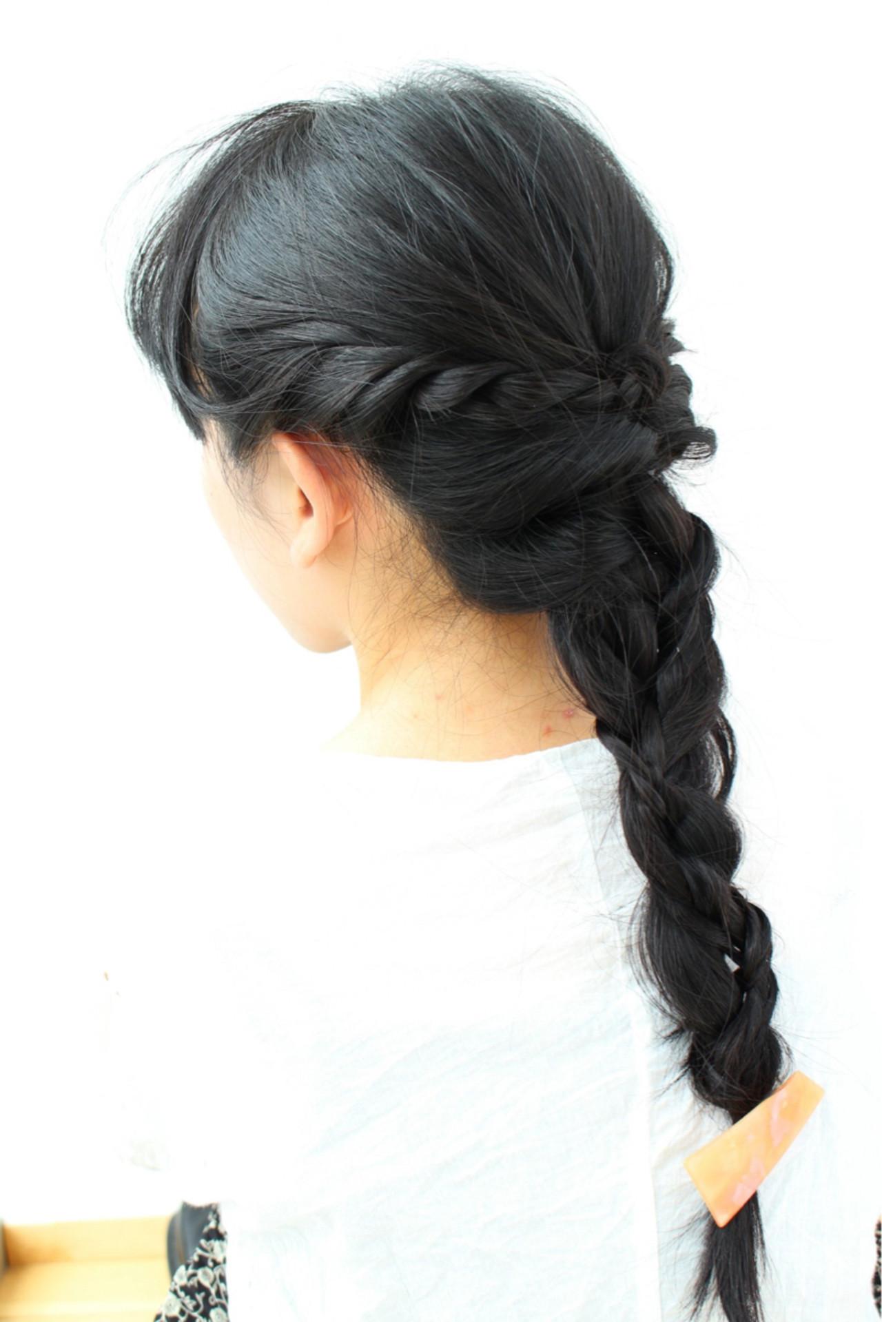 ロング 黒髪 ナチュラル ヘアアレンジ ヘアスタイルや髪型の写真・画像