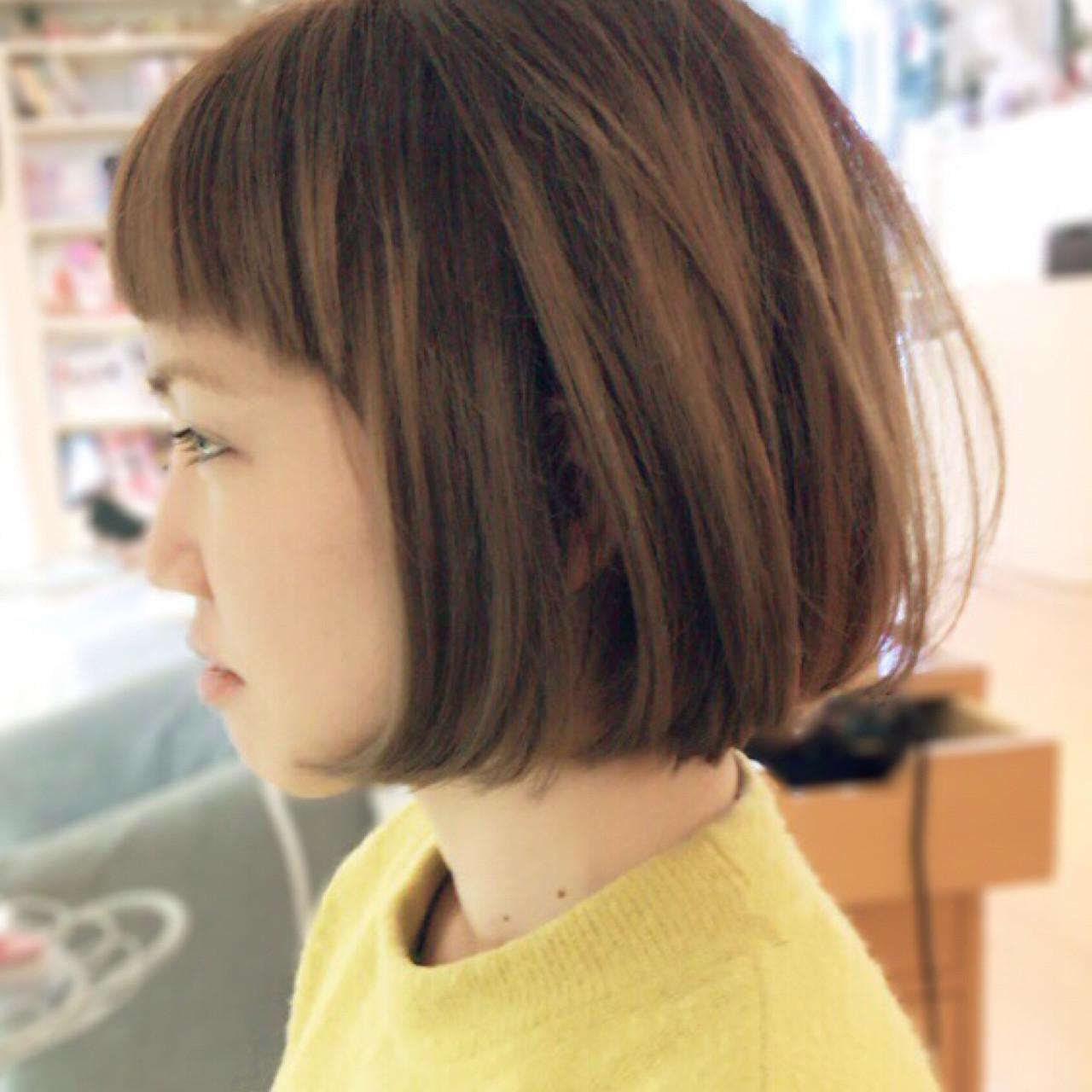 ワンカール ボブ ナチュラル ハイライト ヘアスタイルや髪型の写真・画像