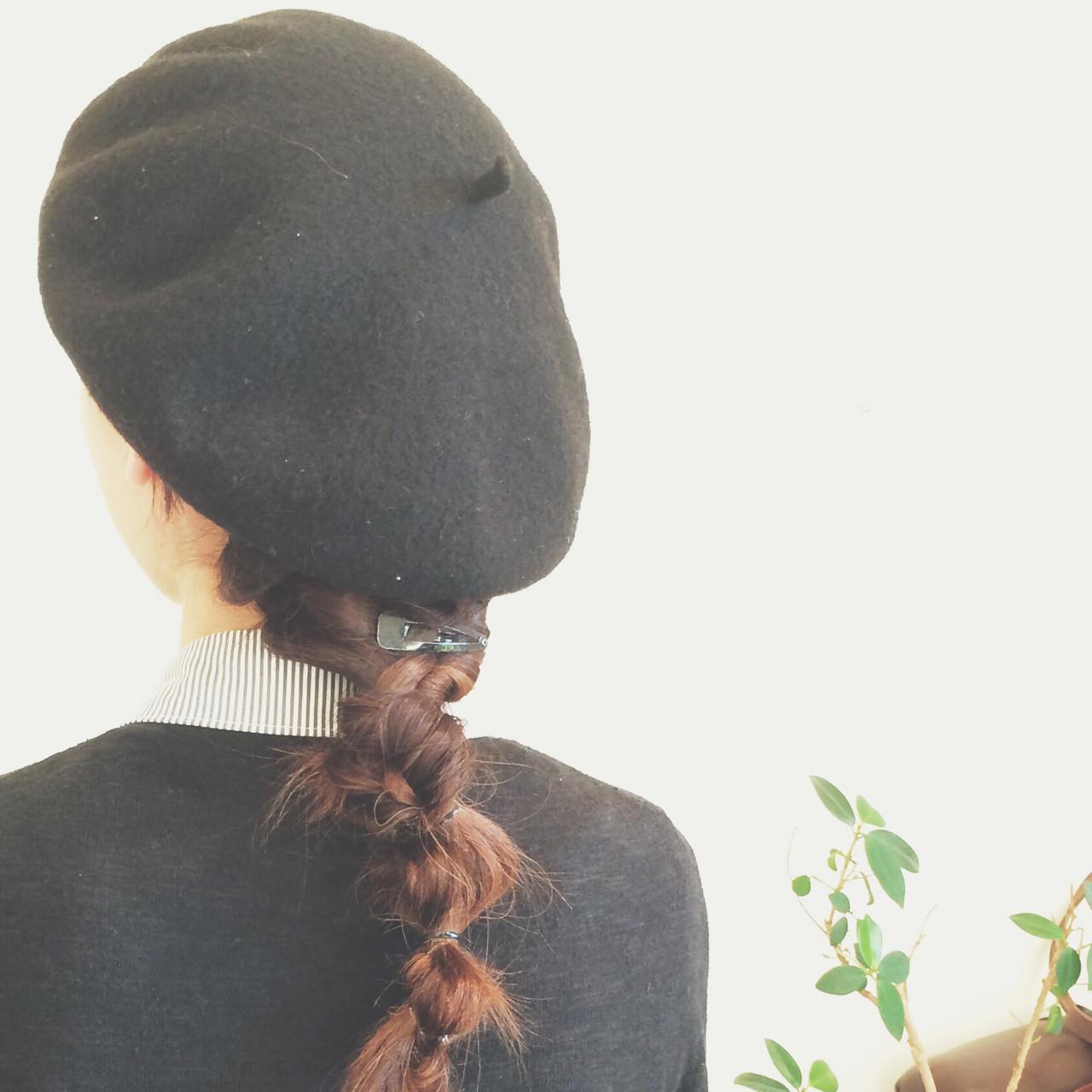ねじり ロング ストリート ベレー帽 ヘアスタイルや髪型の写真・画像