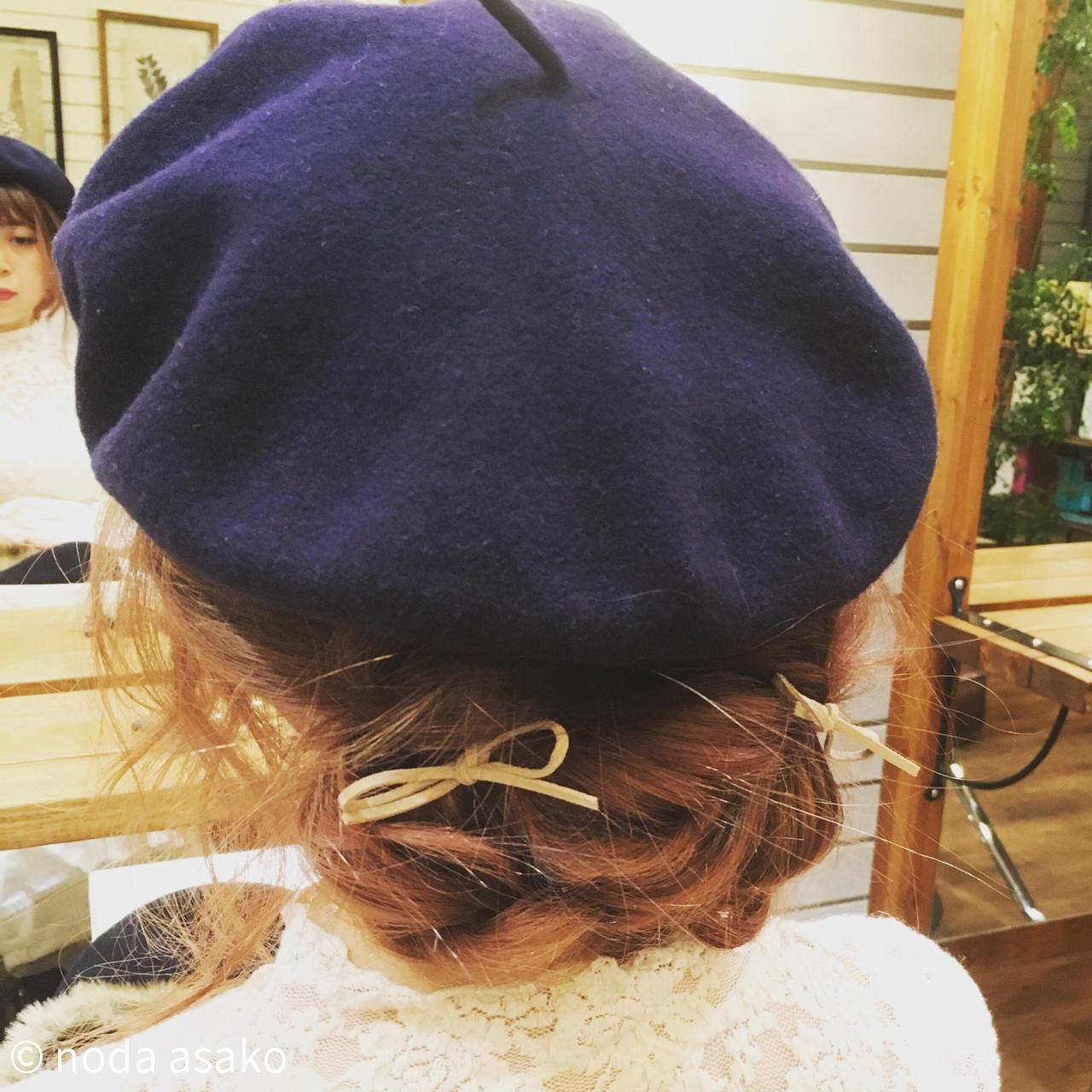 ショート 簡単ヘアアレンジ ベレー帽 編み込み ヘアスタイルや髪型の写真・画像