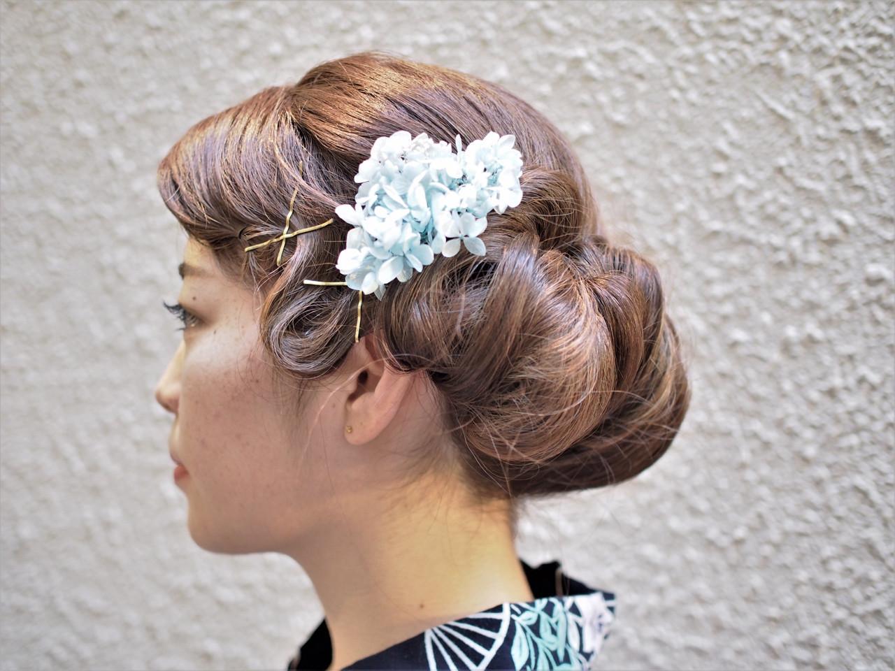 ウェーブ モード ヘアアレンジ 和装 ヘアスタイルや髪型の写真・画像