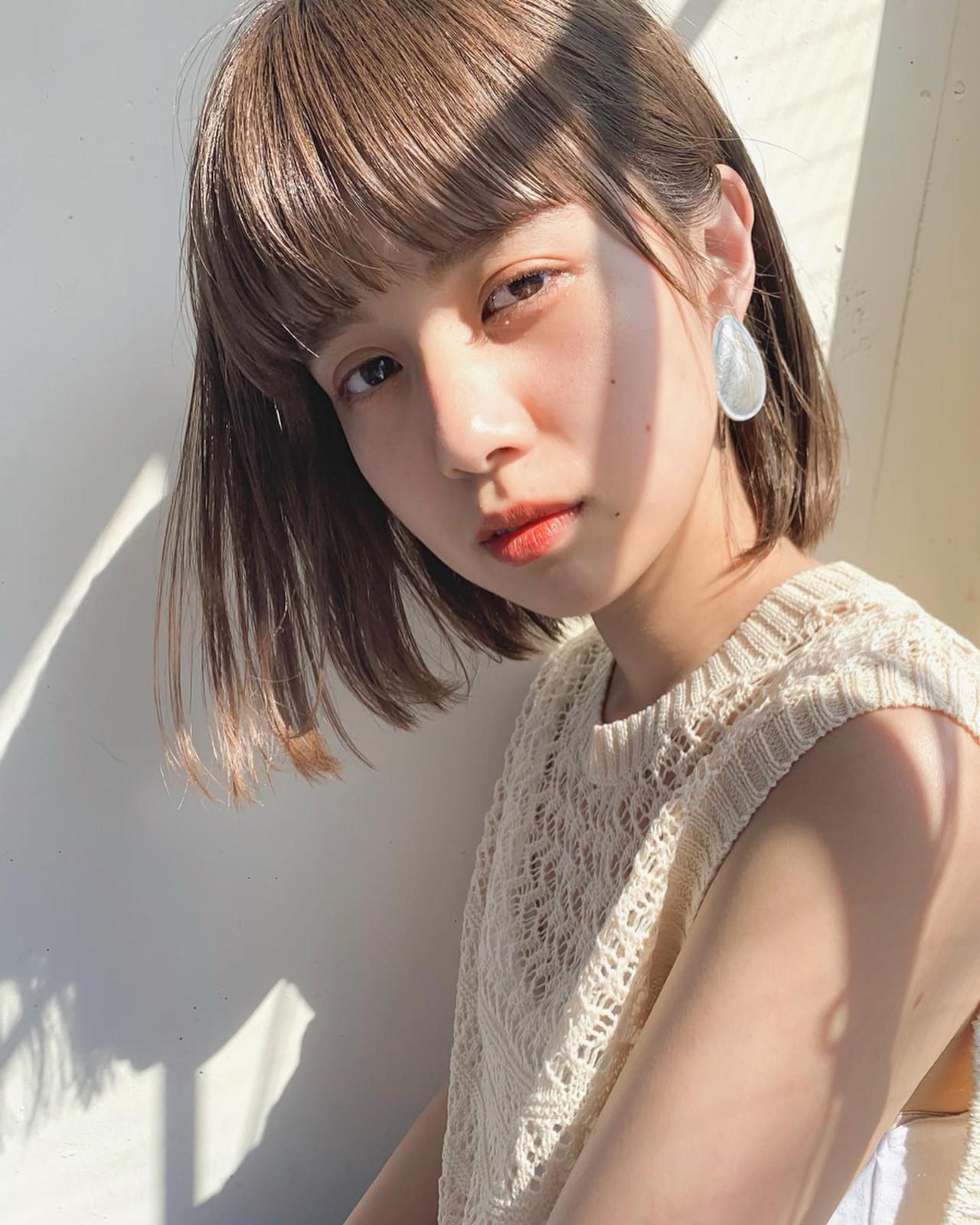 明るめカラーの切りっぱなしボブでガーリーに♡ 太田 ヒロト