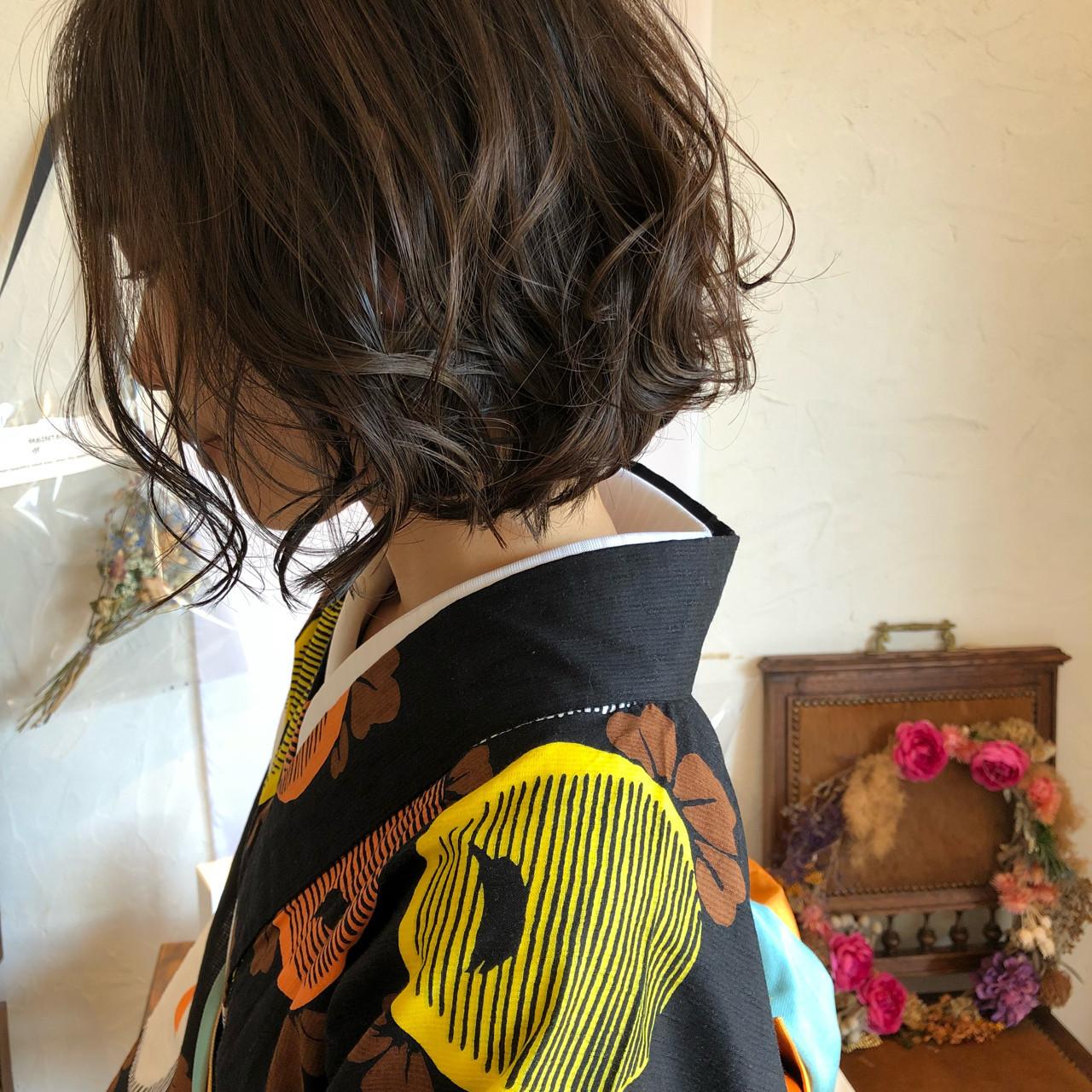 大人かわいい袴に似合うキュートなボブアレンジ 川内道子 instagram→michiko_kNoelle インスタ→michiko_k